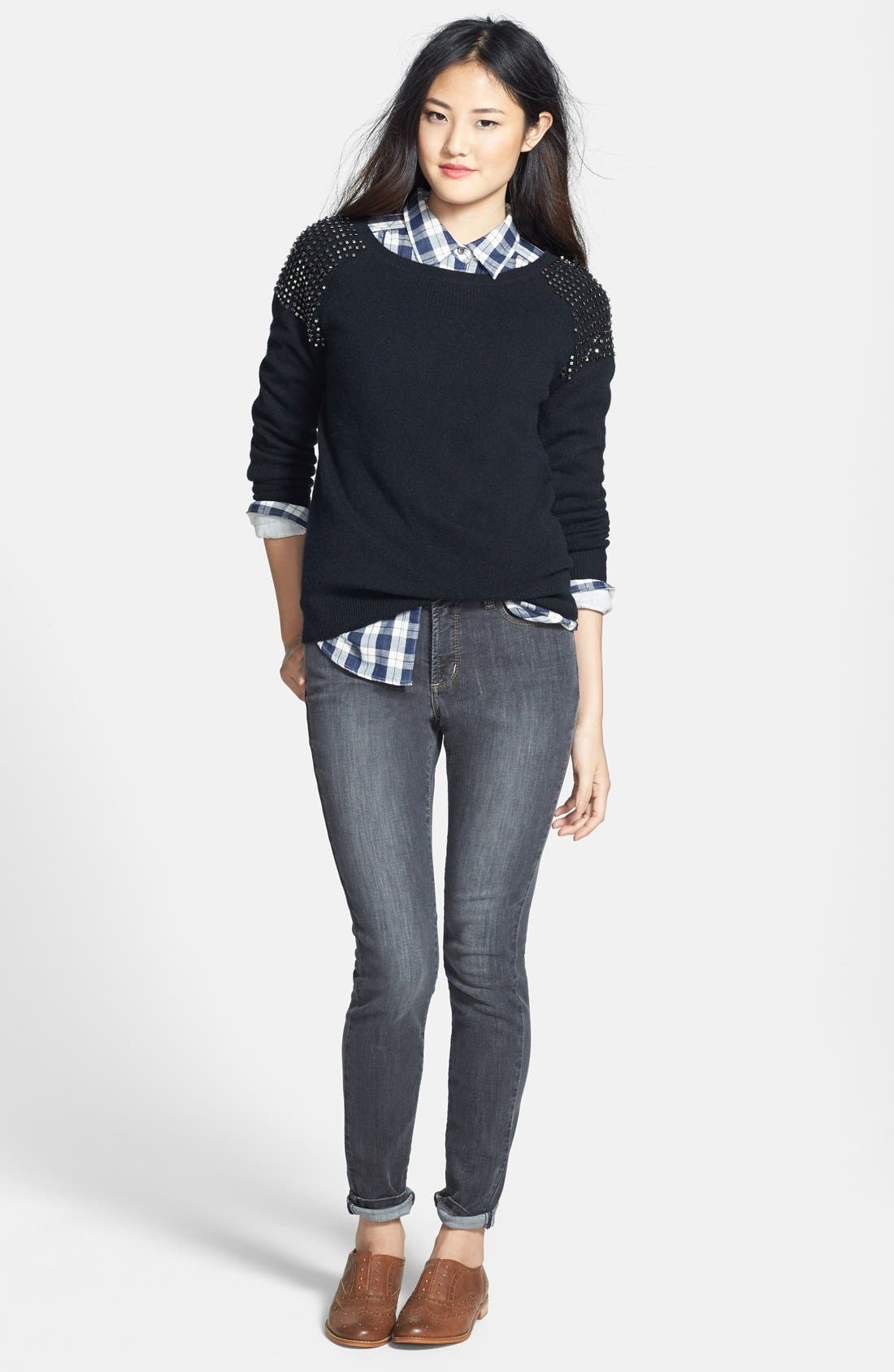 Embellished Shoulder Cashmere Sweater,                             Alternate thumbnail 2, color,                             001
