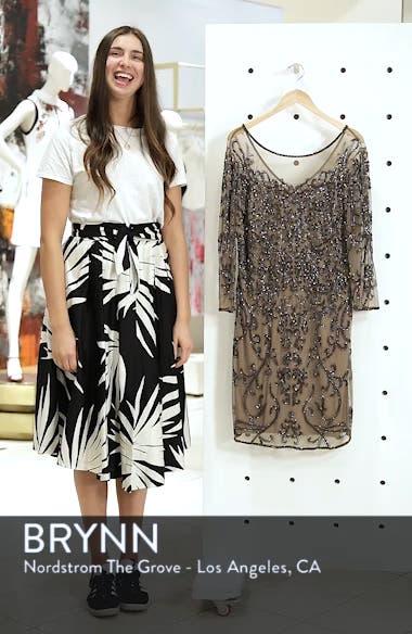 Illusion Sleeve Beaded Sheath Dress, sales video thumbnail