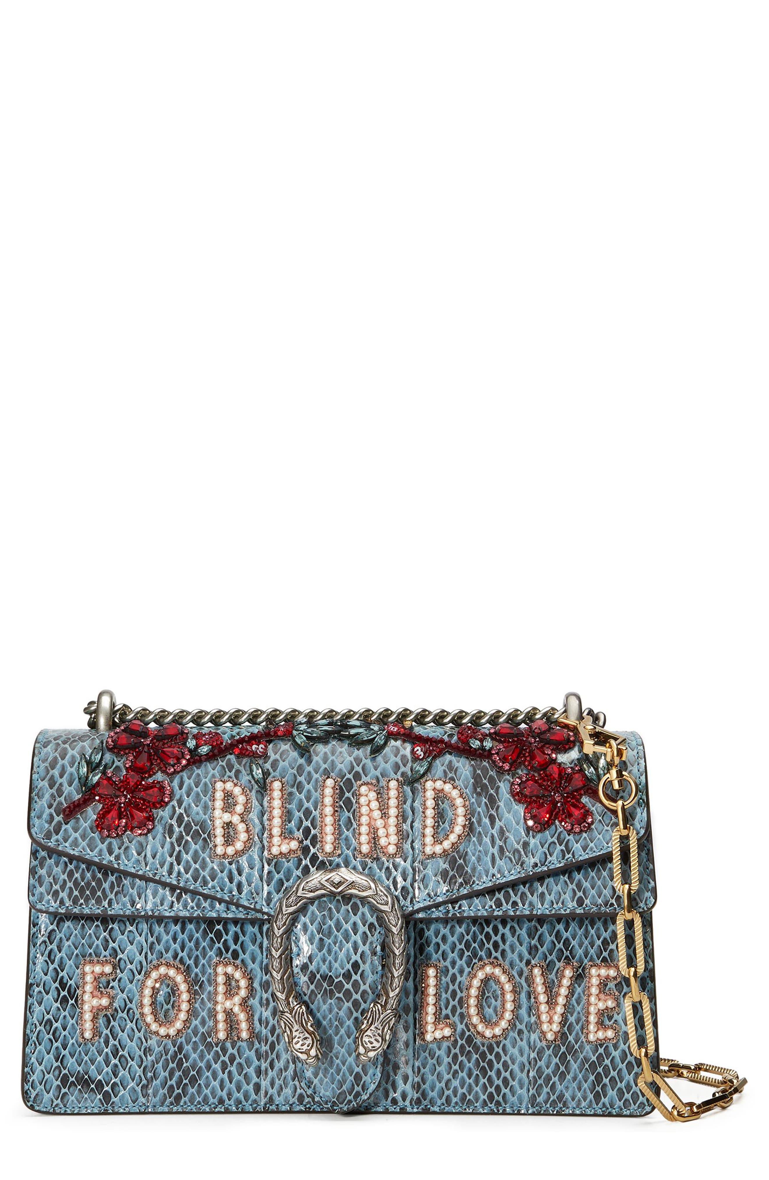 GUCCI,                             Dionysus Blind for Love Genuine Snakeskin Shoulder Bag,                             Main thumbnail 1, color,                             493