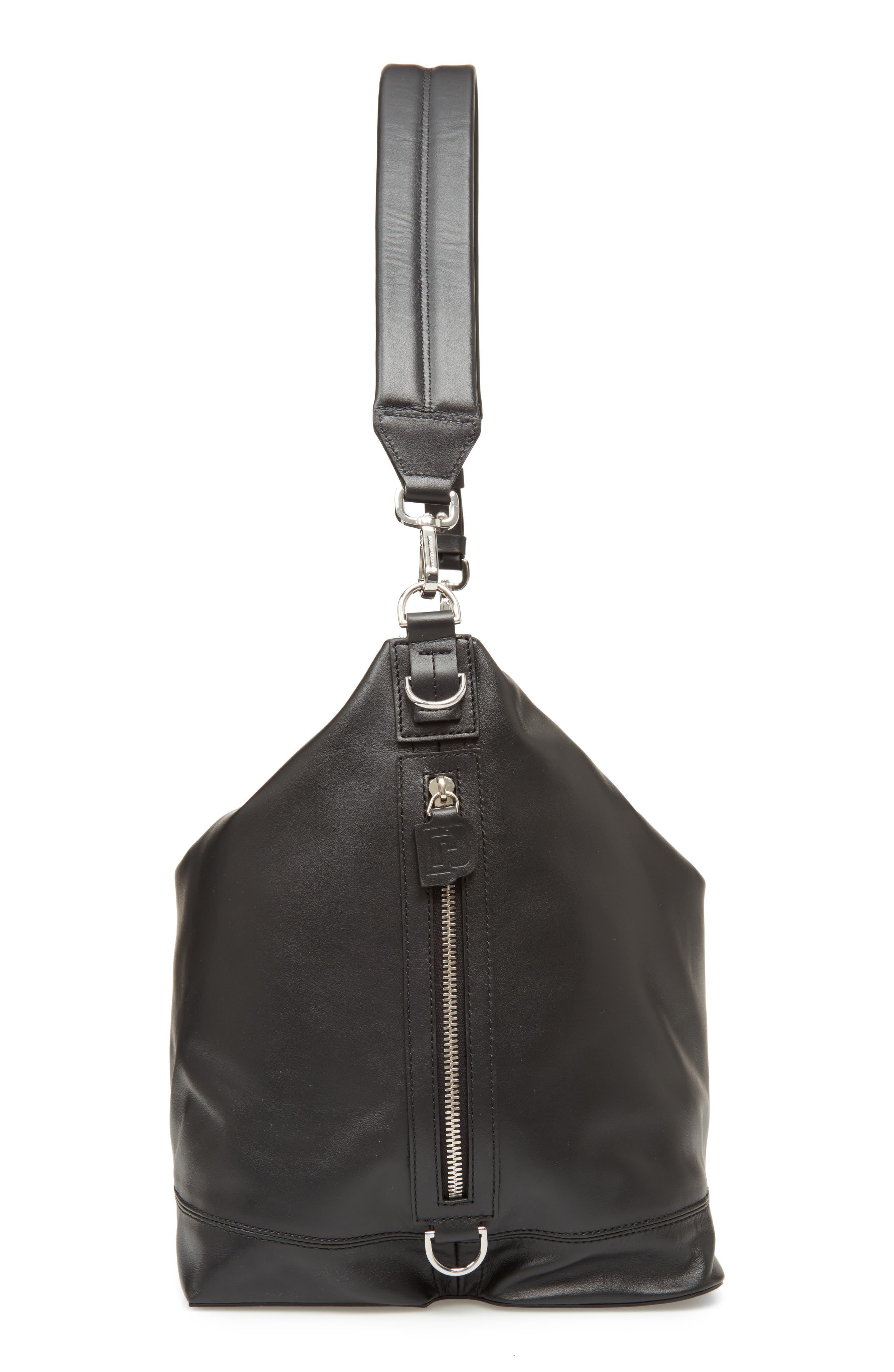 Faux Leather Convertible Hobo,                             Alternate thumbnail 6, color,                             BLACK/ BLACK