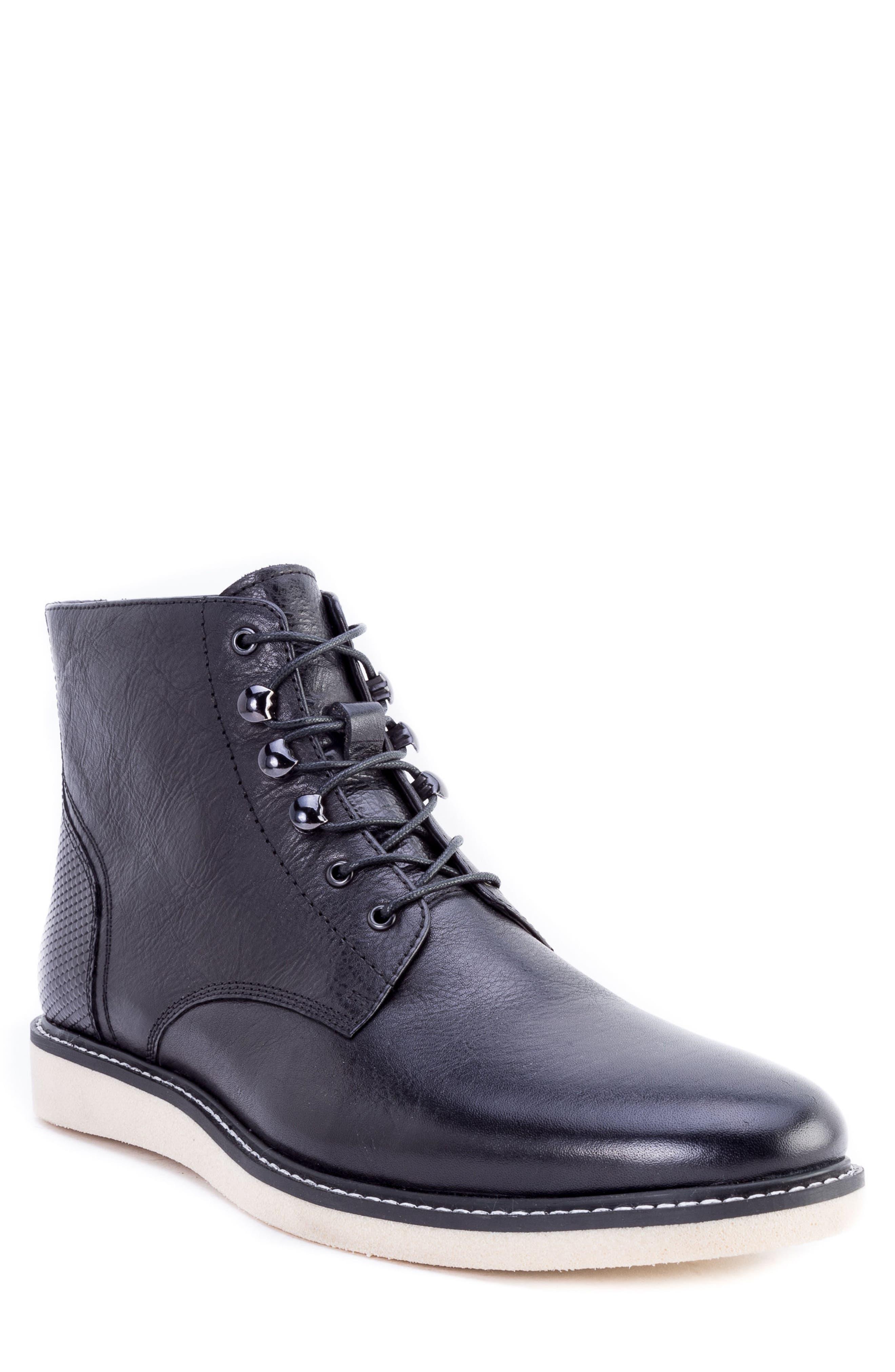 Finch Plain Toe Boot,                         Main,                         color, BLACK LEATHER