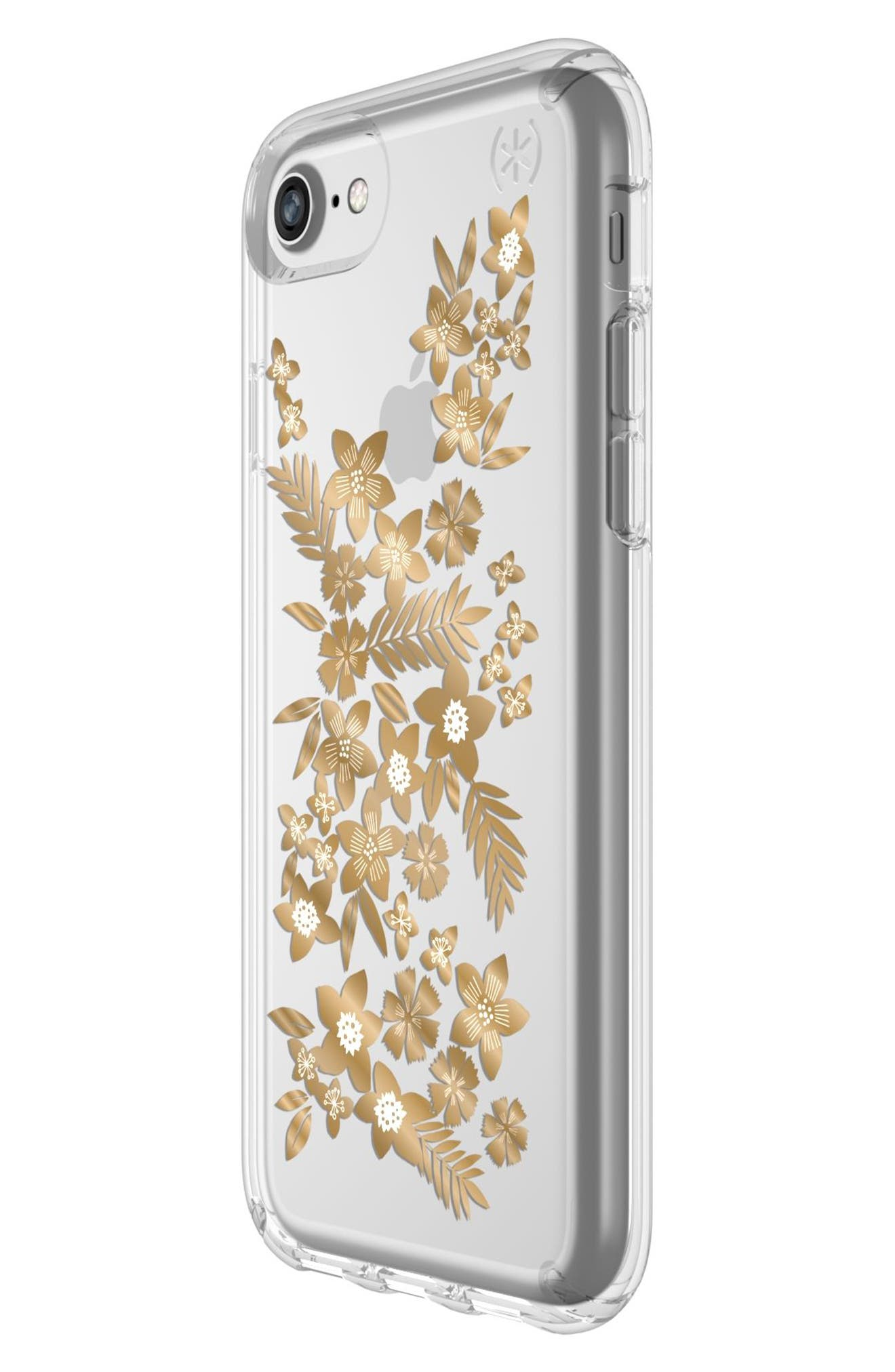 Transparent Shimmer Floral Metallic iPhone 6/6s/7/8 Case,                             Alternate thumbnail 3, color,                             040