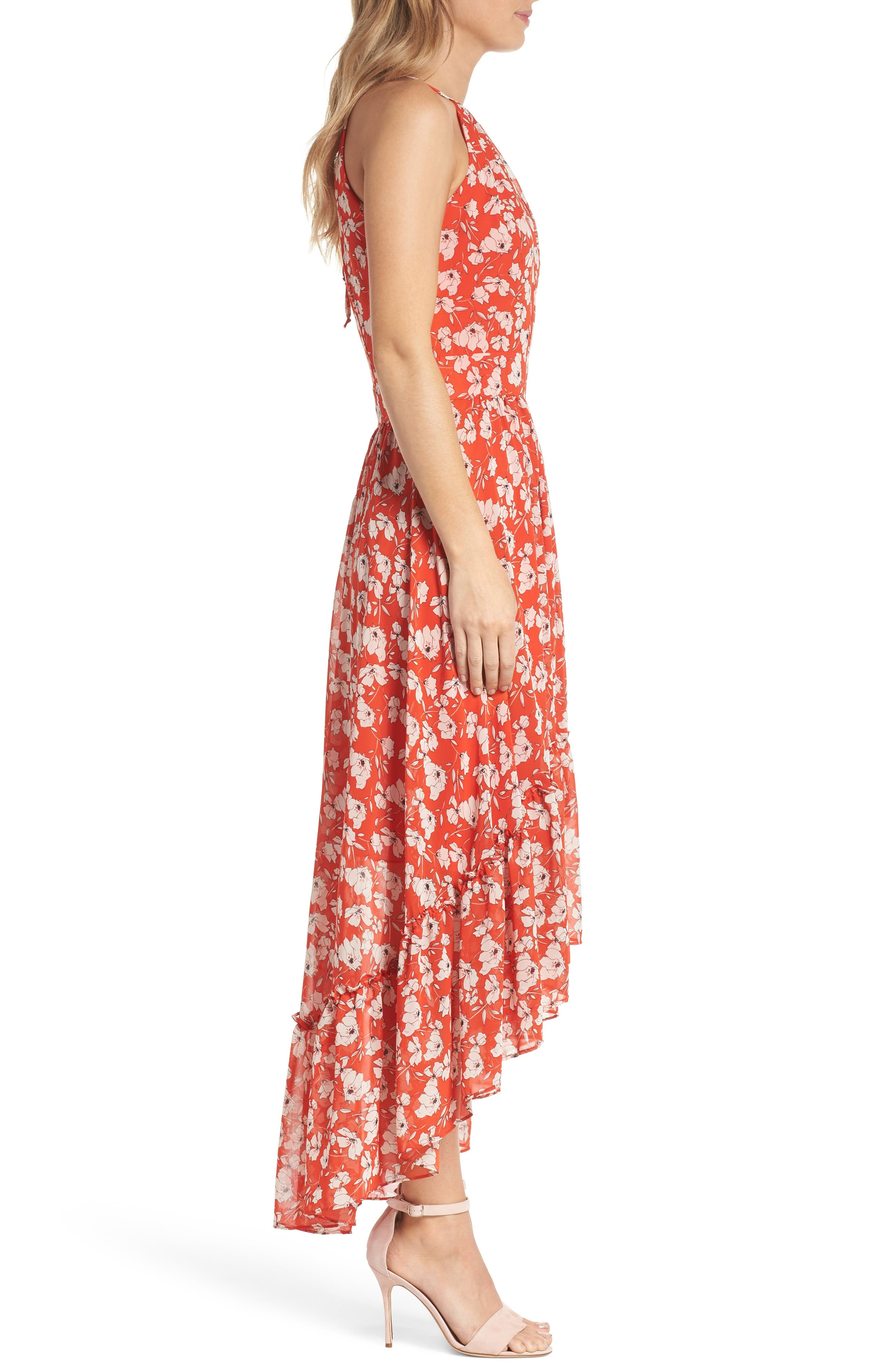 Ruffle Hem Halter Neck Chiffon Dress,                             Alternate thumbnail 3, color,                             612