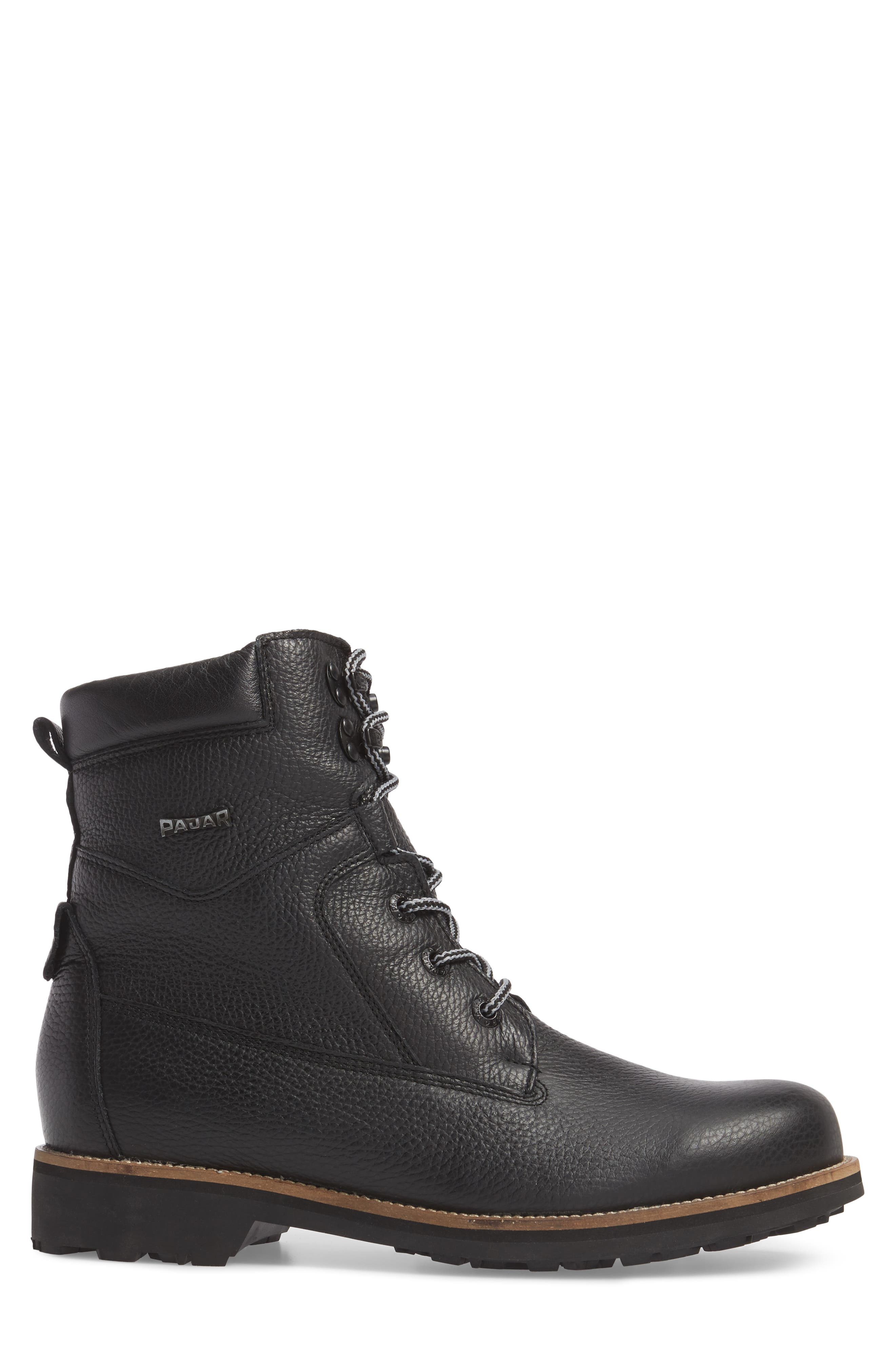 PAJAR,                             David Plain Toe Waterproof Boot,                             Alternate thumbnail 3, color,                             BLACK LEATHER
