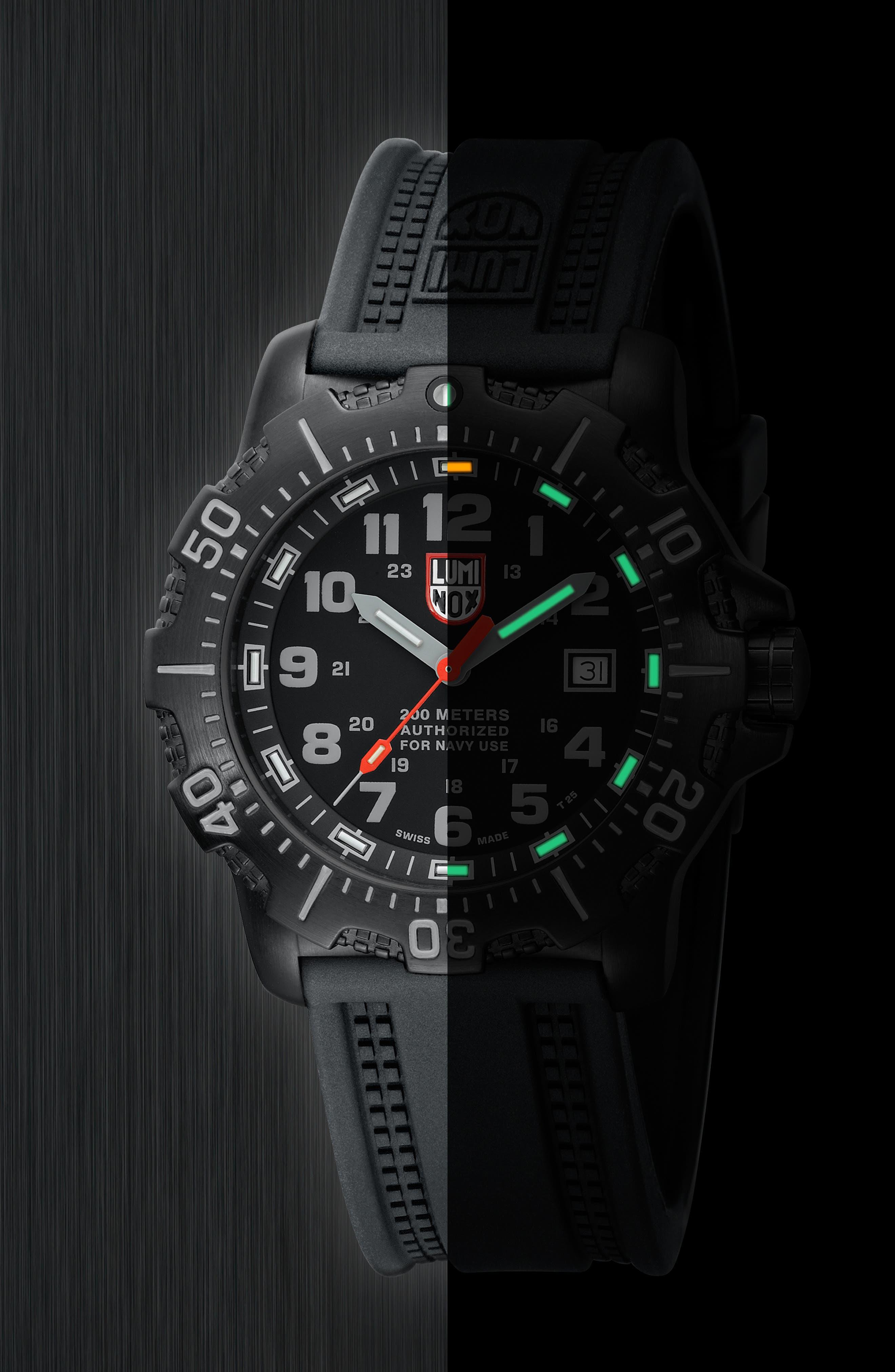 'Sea - ANU' Polyurethane Strap Watch, 45mm,                             Alternate thumbnail 4, color,                             001