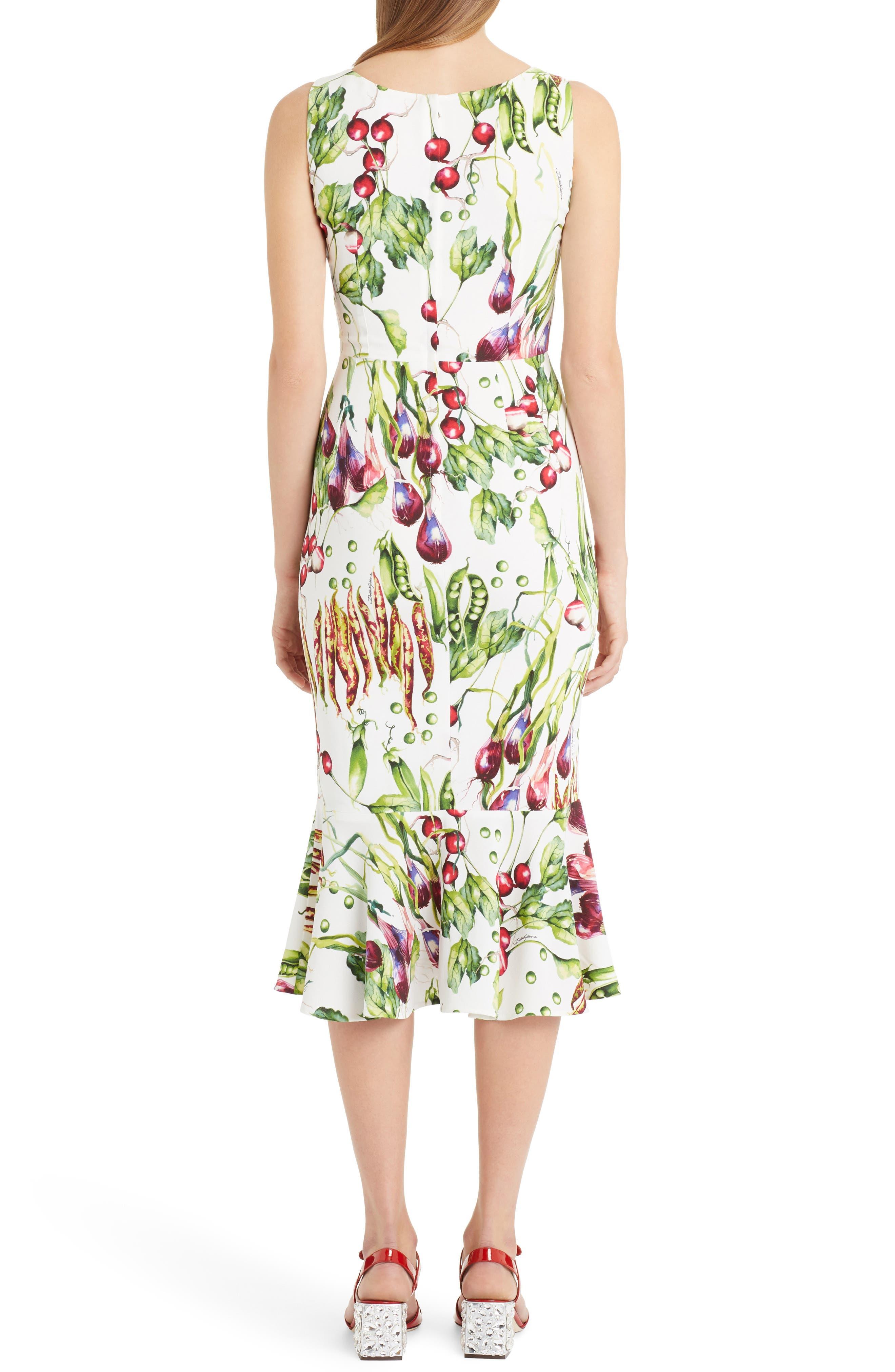 Garden Print Flare Hem Cady Dress,                             Alternate thumbnail 2, color,                             115
