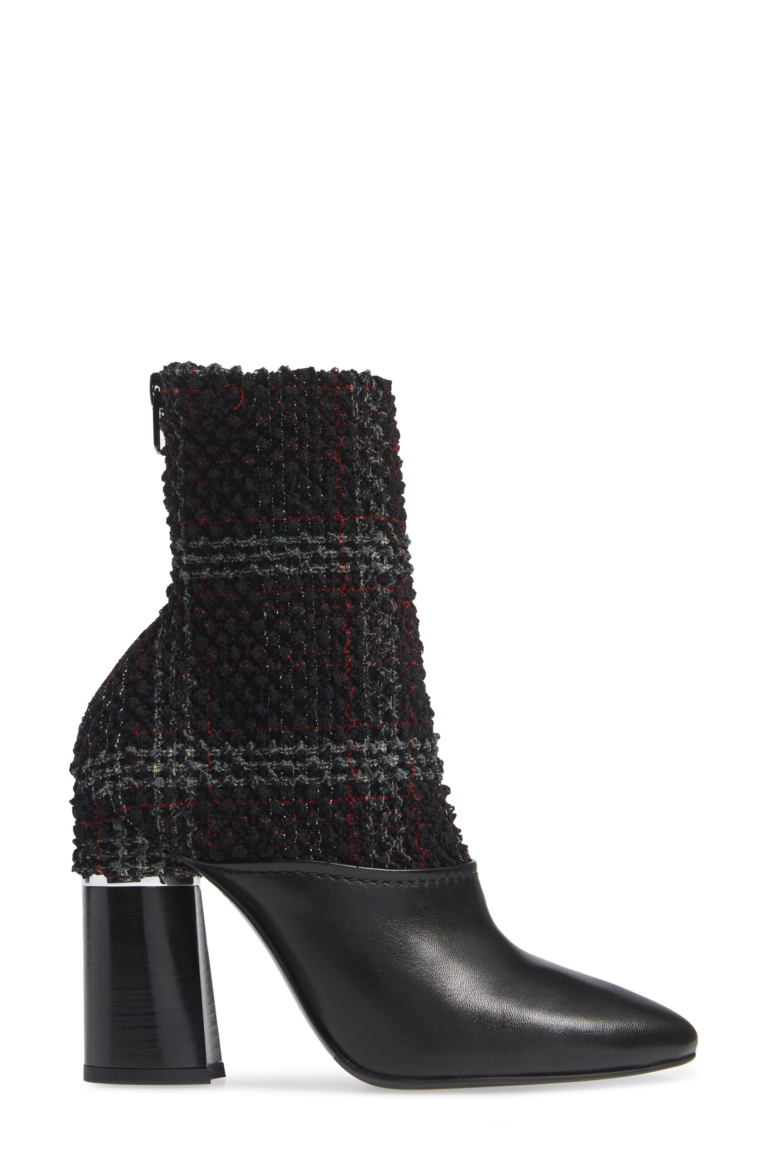 Kyoto Leather Bootie,                             Alternate thumbnail 3, color,                             BLACK/ GREEN/ RED CHECK