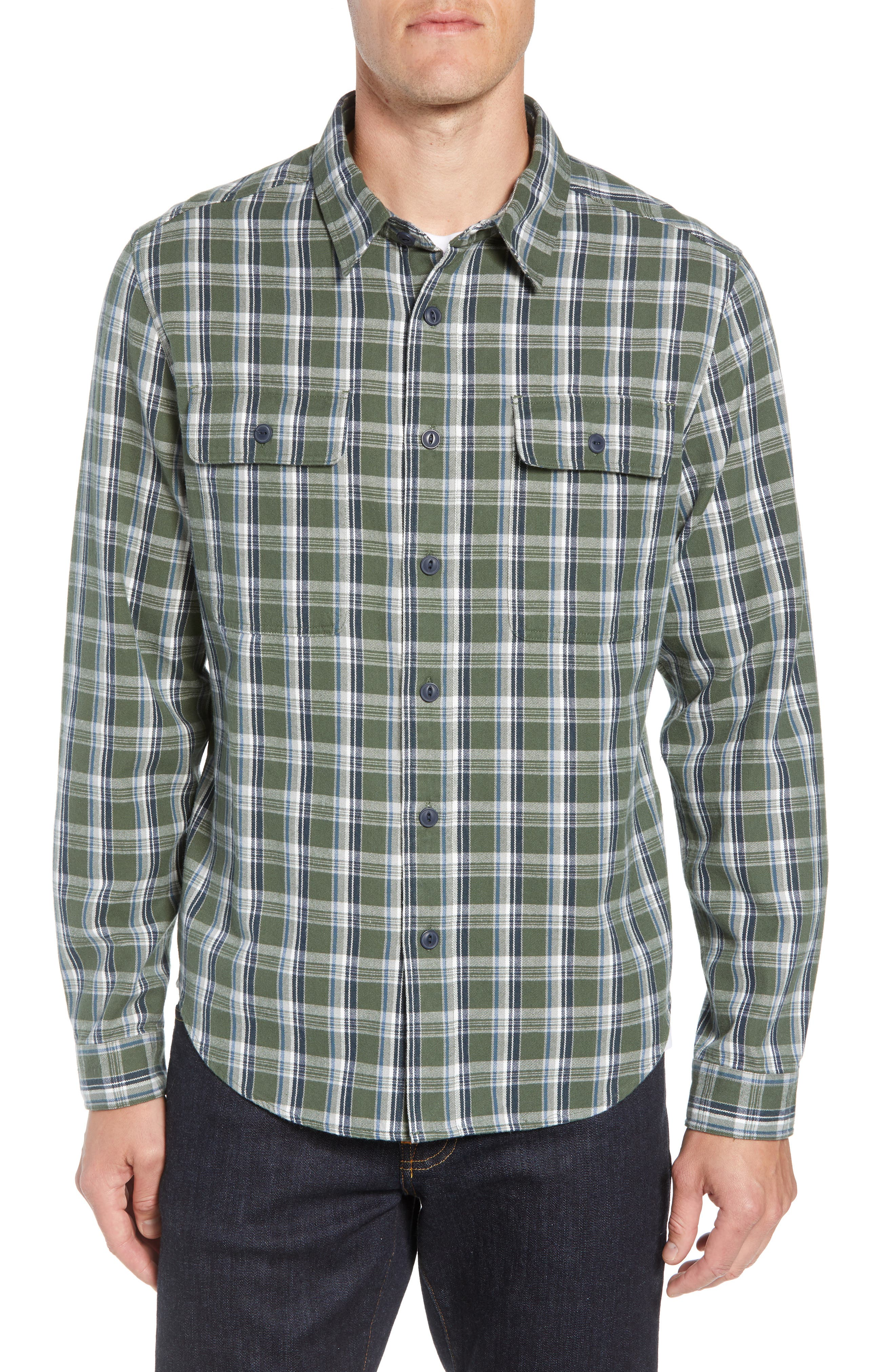 Anders Flannel Sport Shirt,                         Main,                         color, ARMY GREEN PLAID