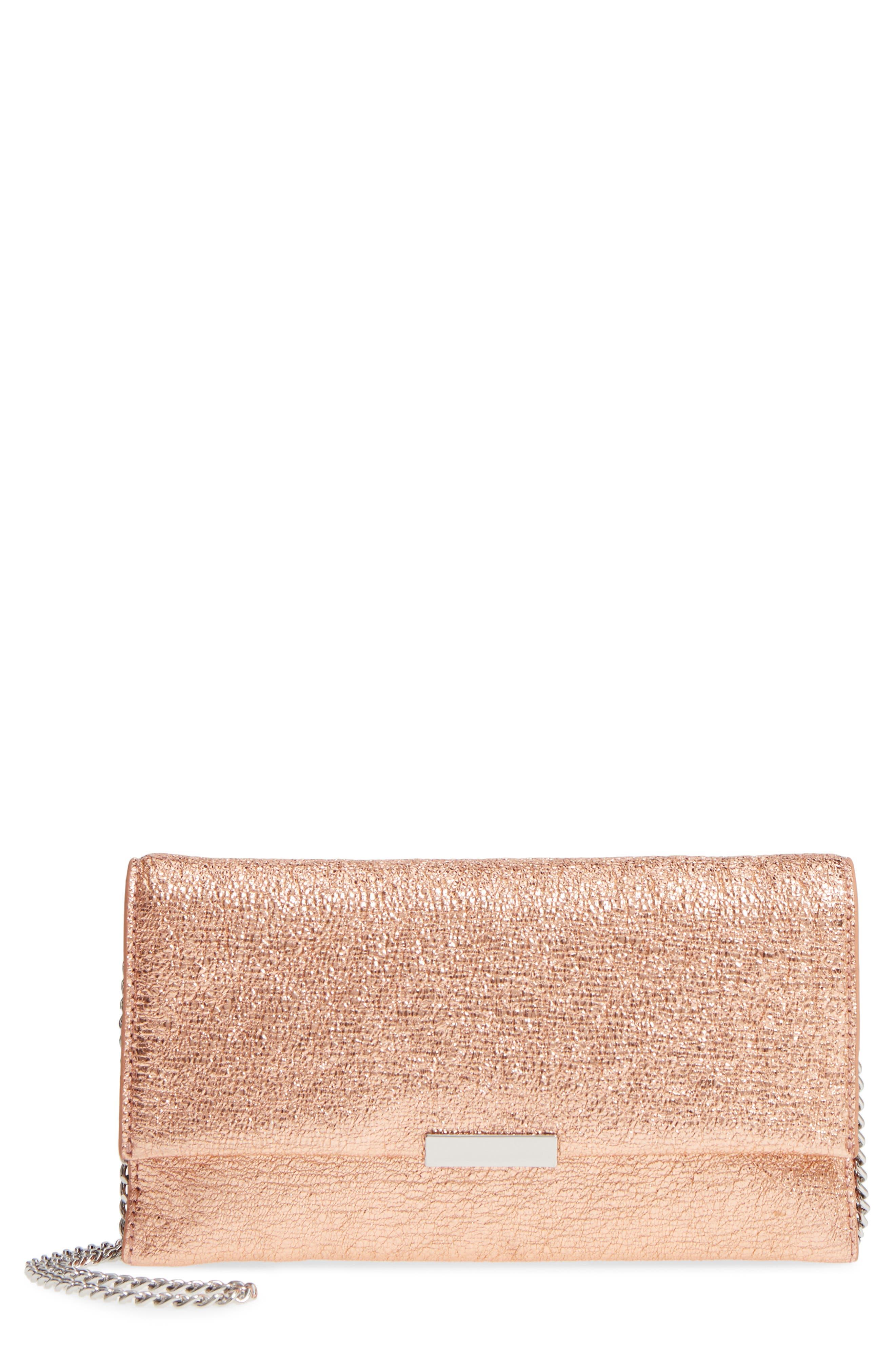 Metallic Leather Tab Clutch,                         Main,                         color, 712