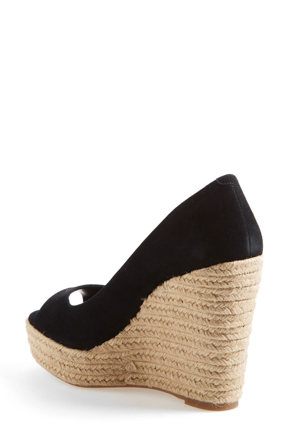 'Totsi' Peep Toe Espadrille Wedge,                             Alternate thumbnail 2, color,                             001