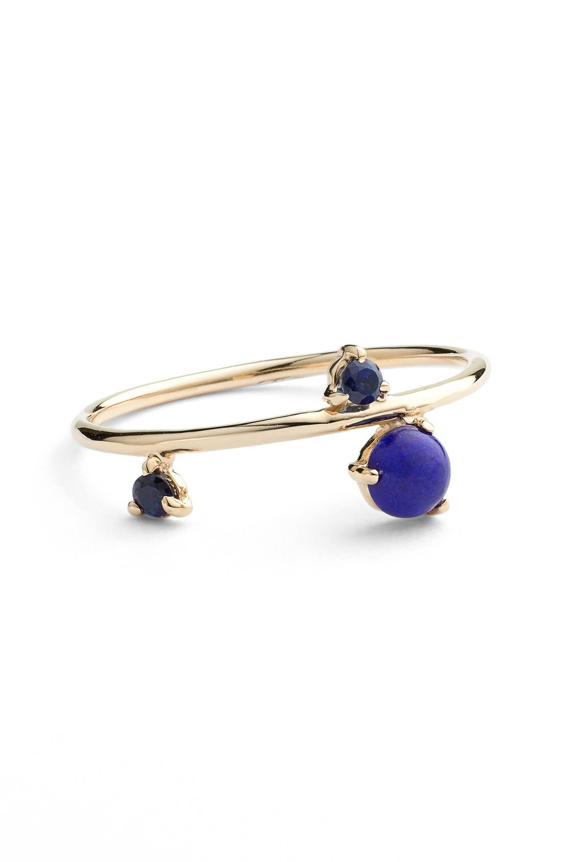 Counting Collection Three-Step Balloon Lapis & Sapphire Ring,                             Main thumbnail 1, color,                             YELLOW GOLD