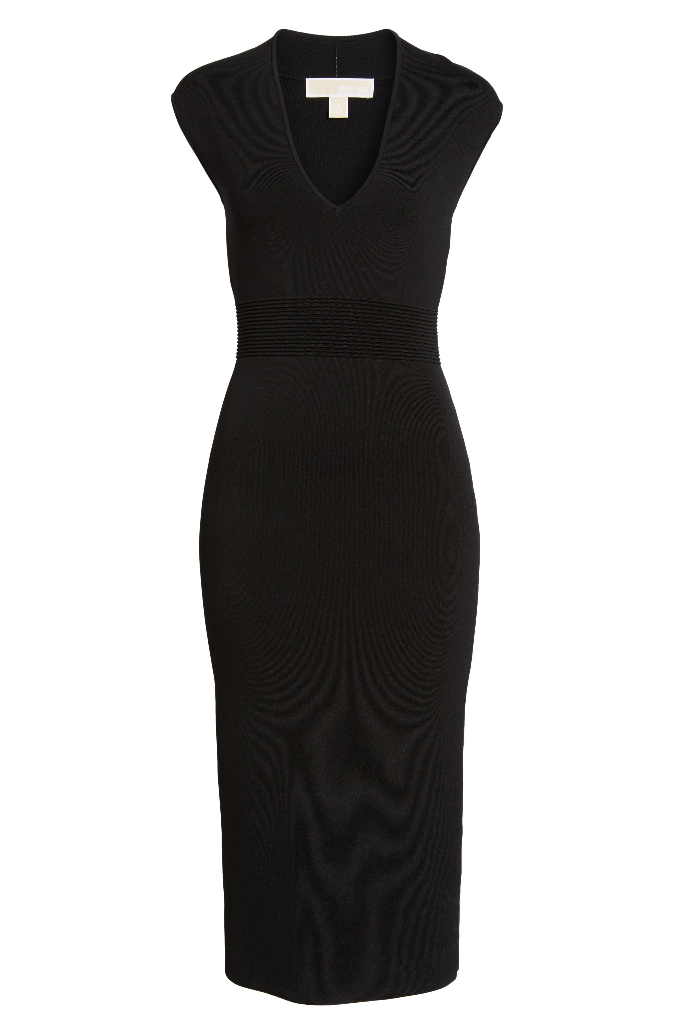 Rib Waist Knit Midi Dress,                             Alternate thumbnail 6, color,                             BLACK
