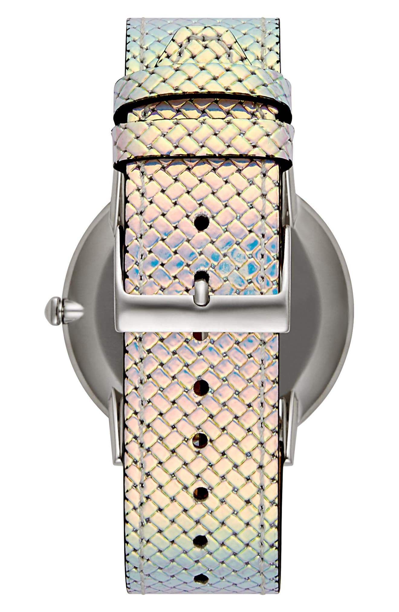 Major Leather Strap Watch, 40mm,                             Alternate thumbnail 2, color,                             IRIDESCENT/ SILVER