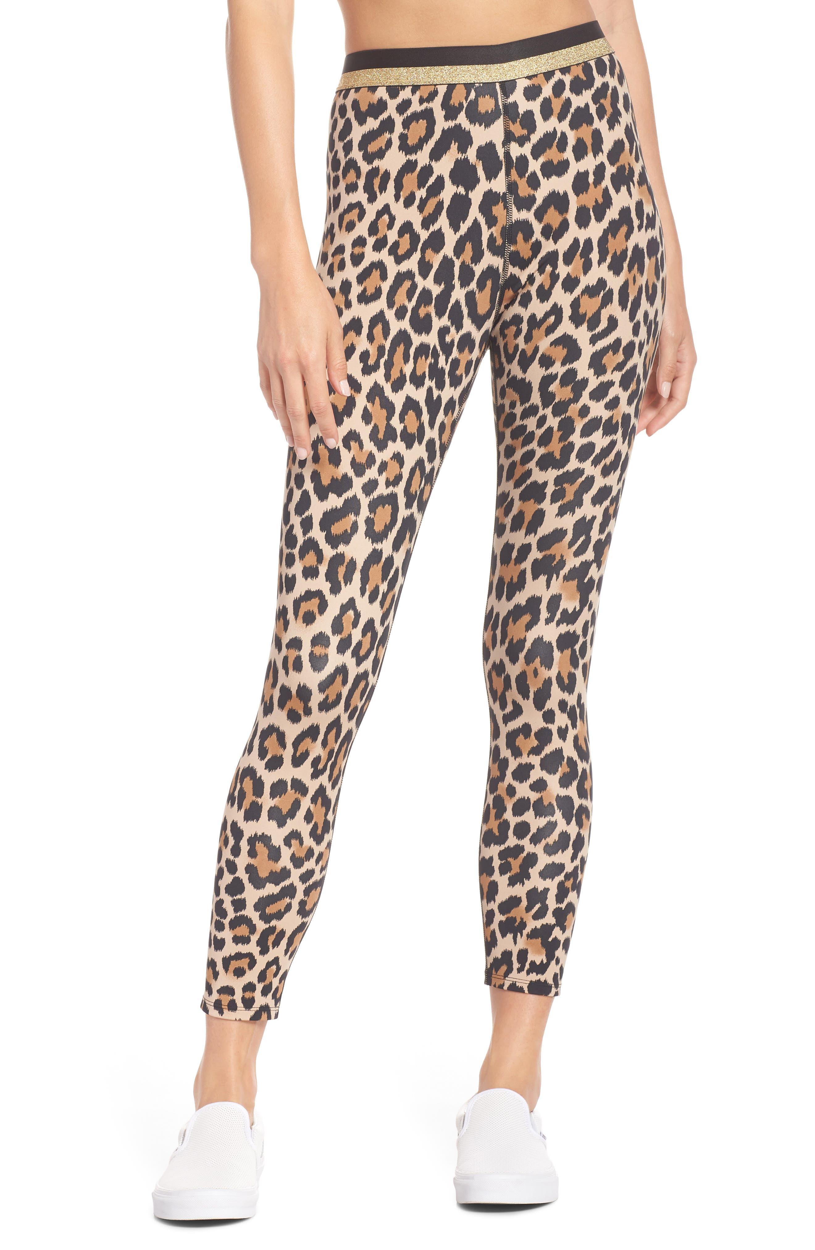 Kate Spade New York Leopard Print Leggings, Beige