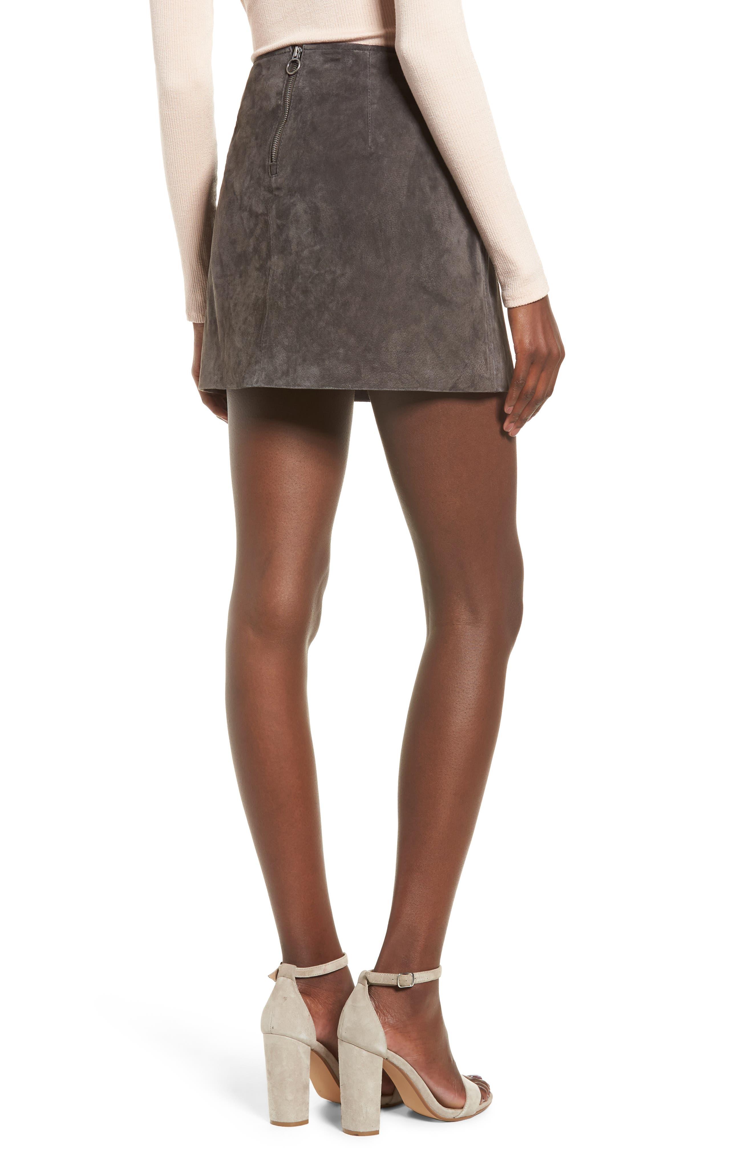 Suede Miniskirt,                             Alternate thumbnail 2, color,                             020