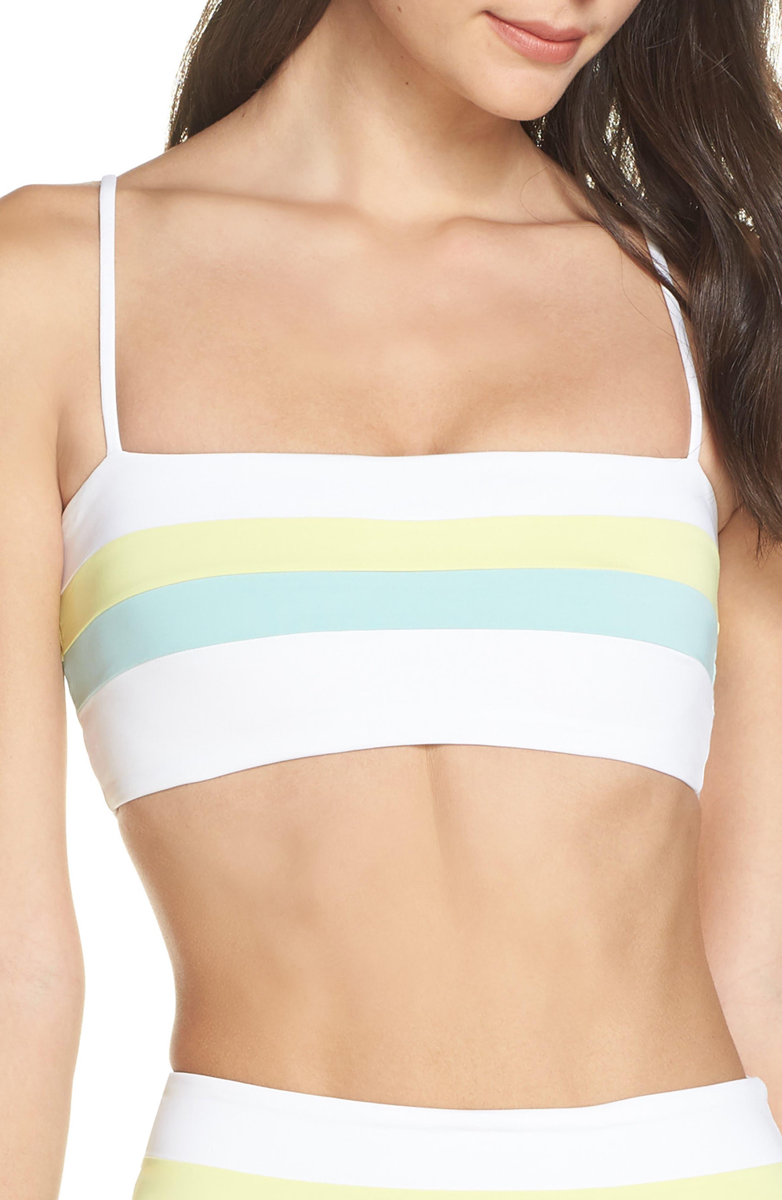 L SPACE,                             Rebel Bikini Top,                             Main thumbnail 1, color,                             WHITE/ LIGHT TURQ/ LEMONADE