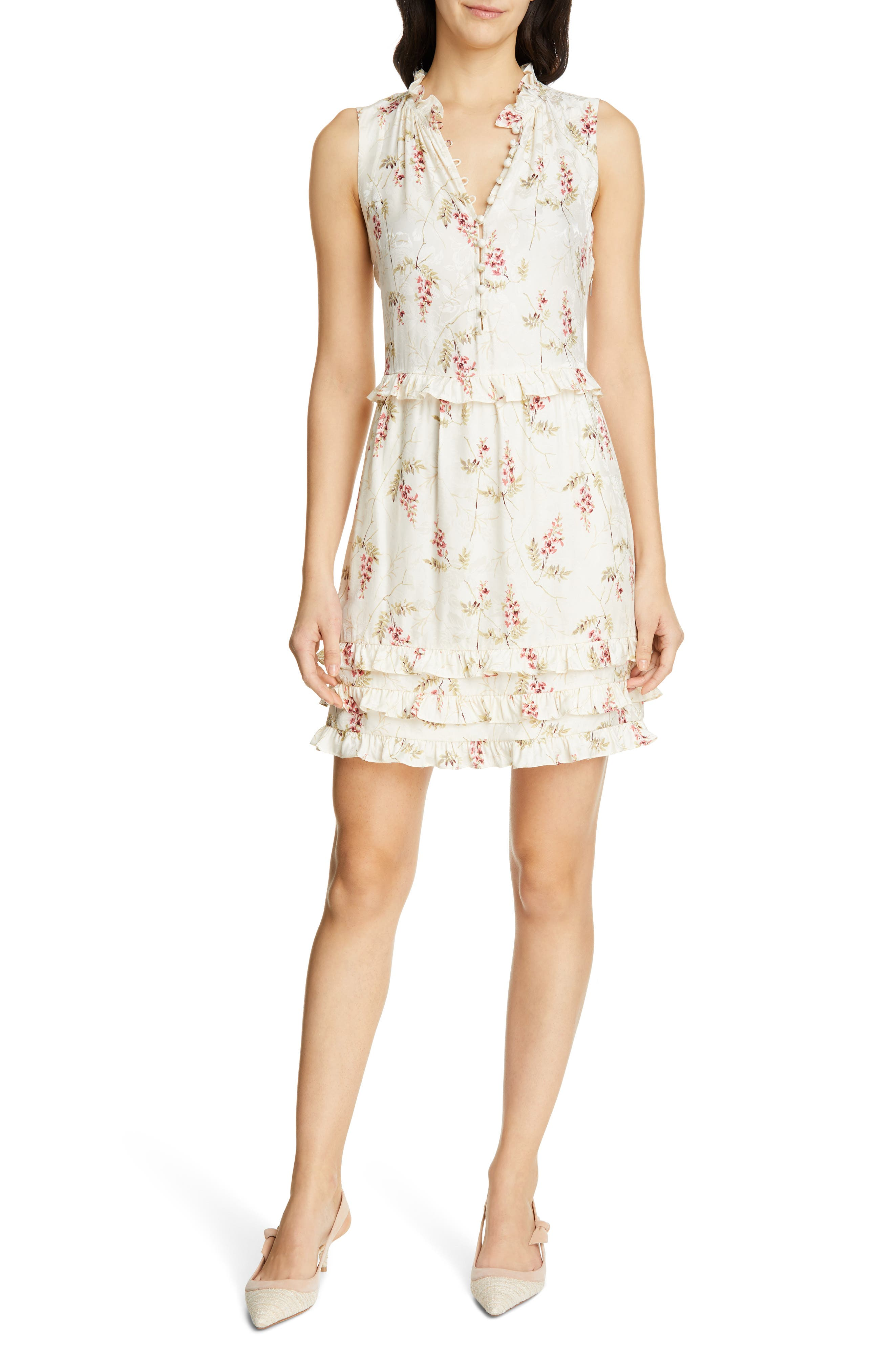 Rebecca Taylor Ivie Floral Ruffle Silk Blend Dress, Ivory