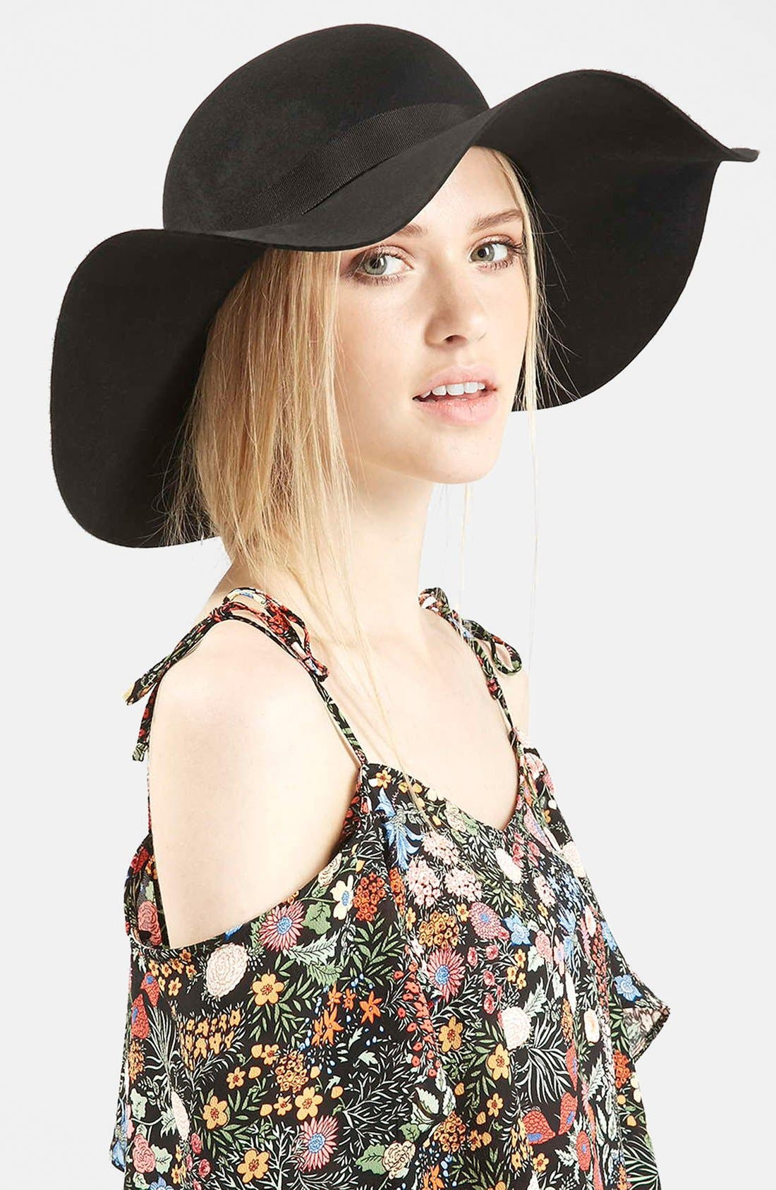 Floppy Wool Felt Hat,                         Main,                         color, 001
