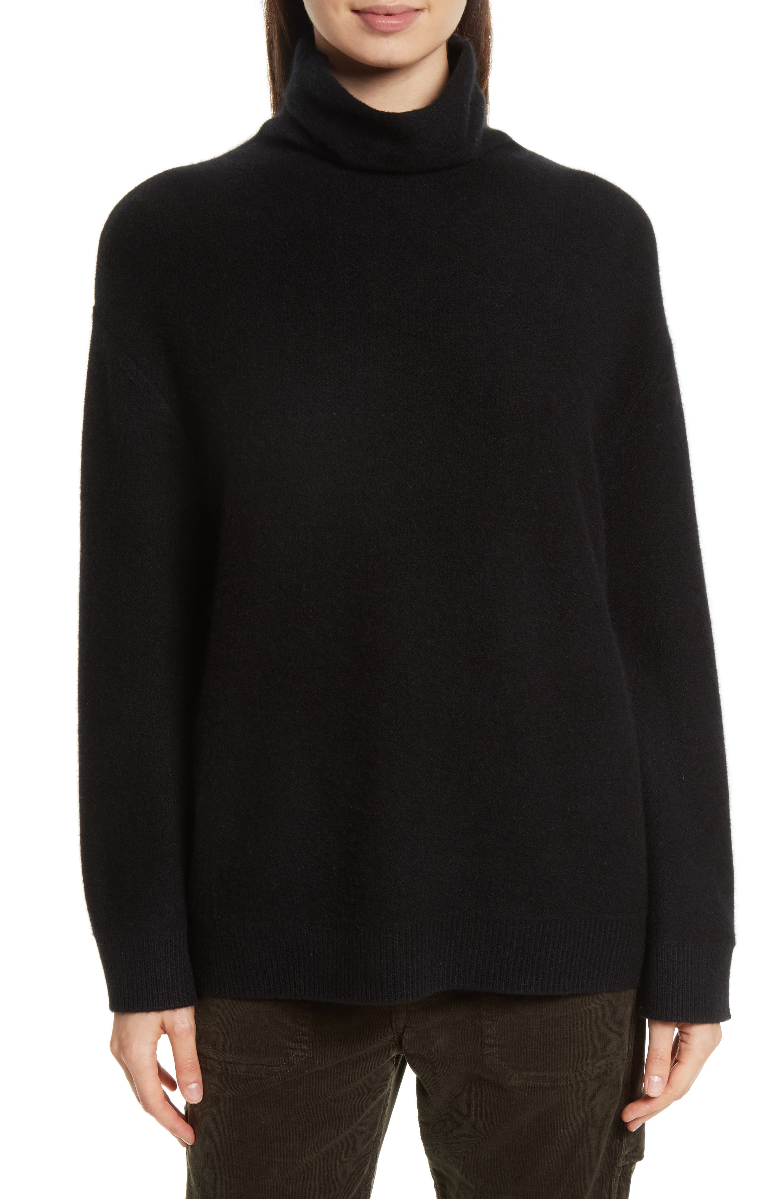 Boxy Mock Neck Cashmere Sweater,                             Main thumbnail 1, color,                             001