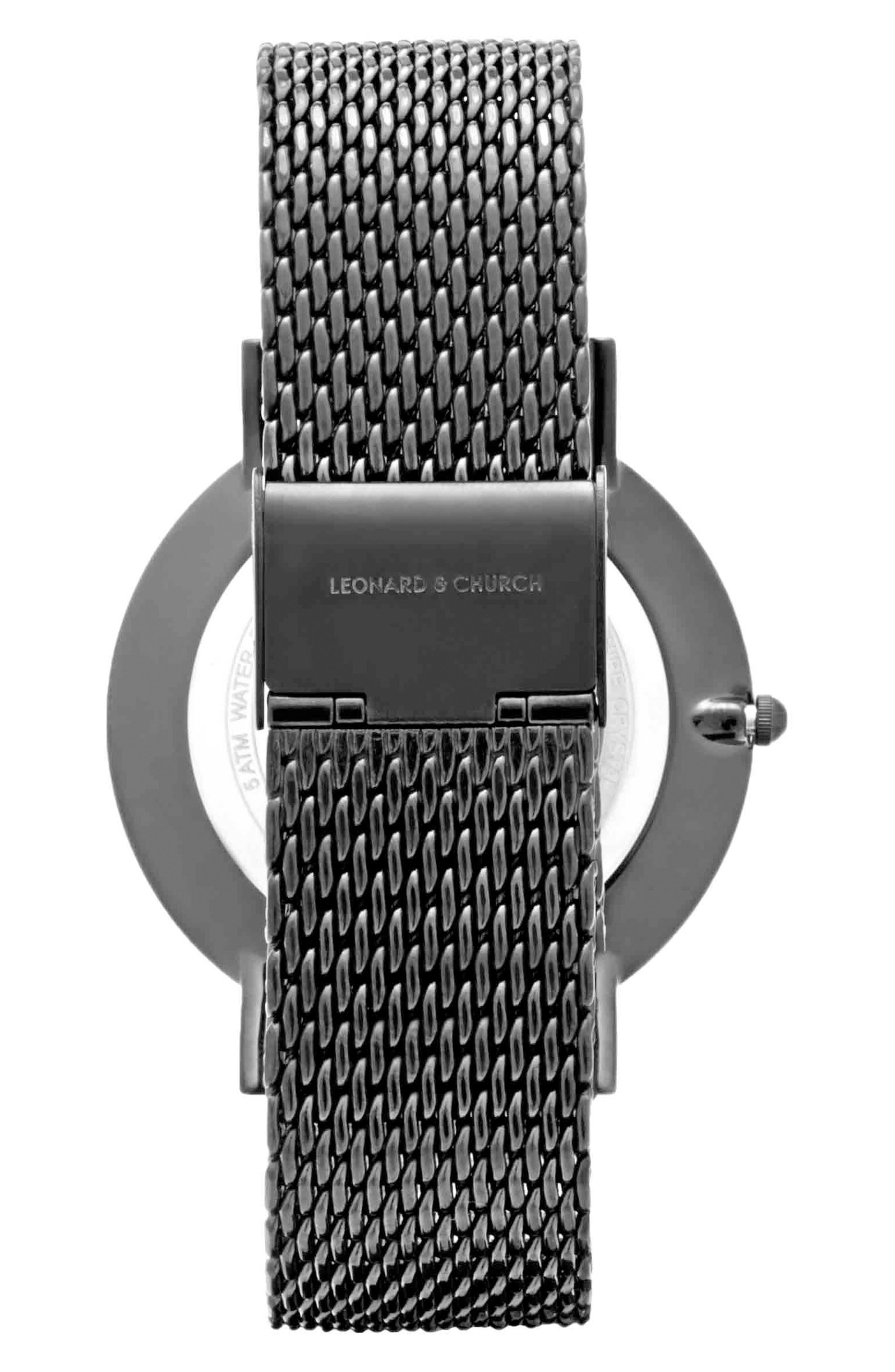 Leonard & Church Essex Mesh Strap Watch, 40mm,                             Alternate thumbnail 2, color,                             001