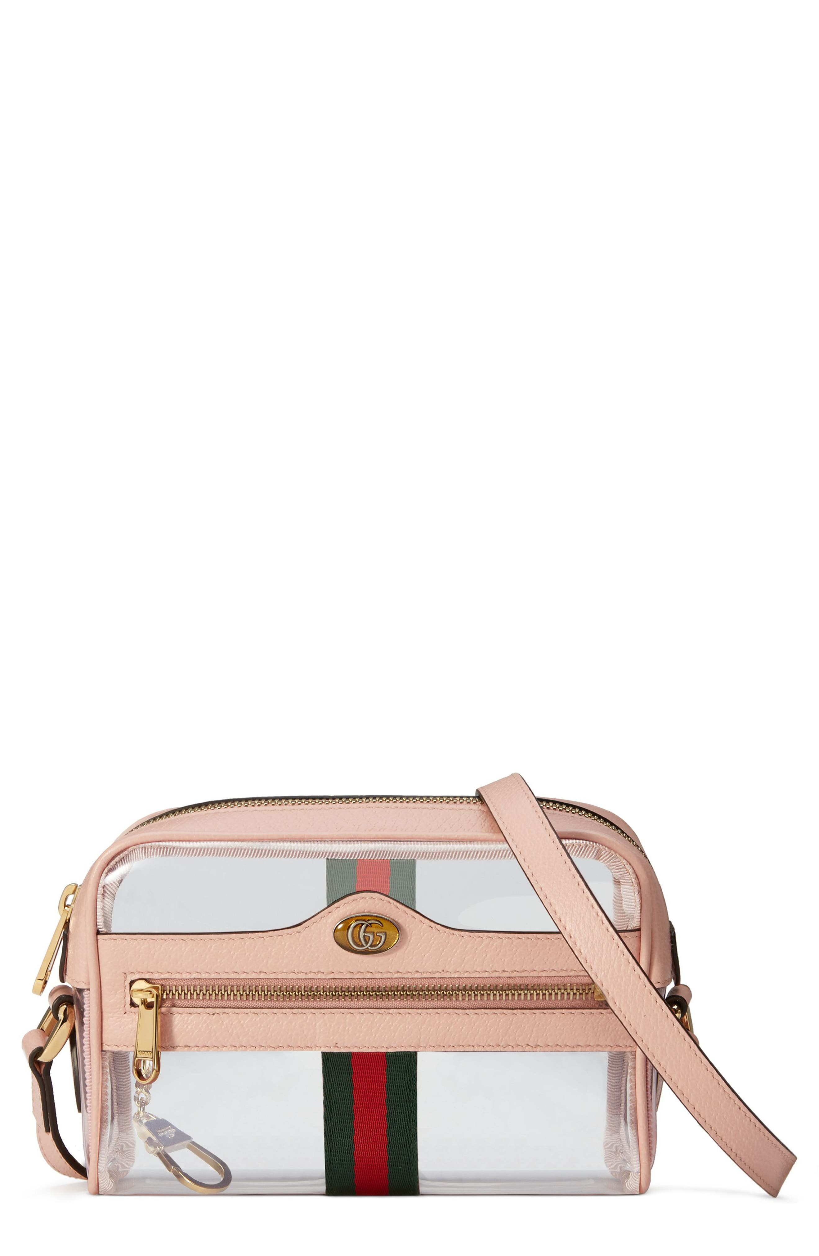 Mini Ophidia Transparent Convertible Bag,                             Main thumbnail 1, color,                             PINK/ PERFECT PINK/ VERT RED