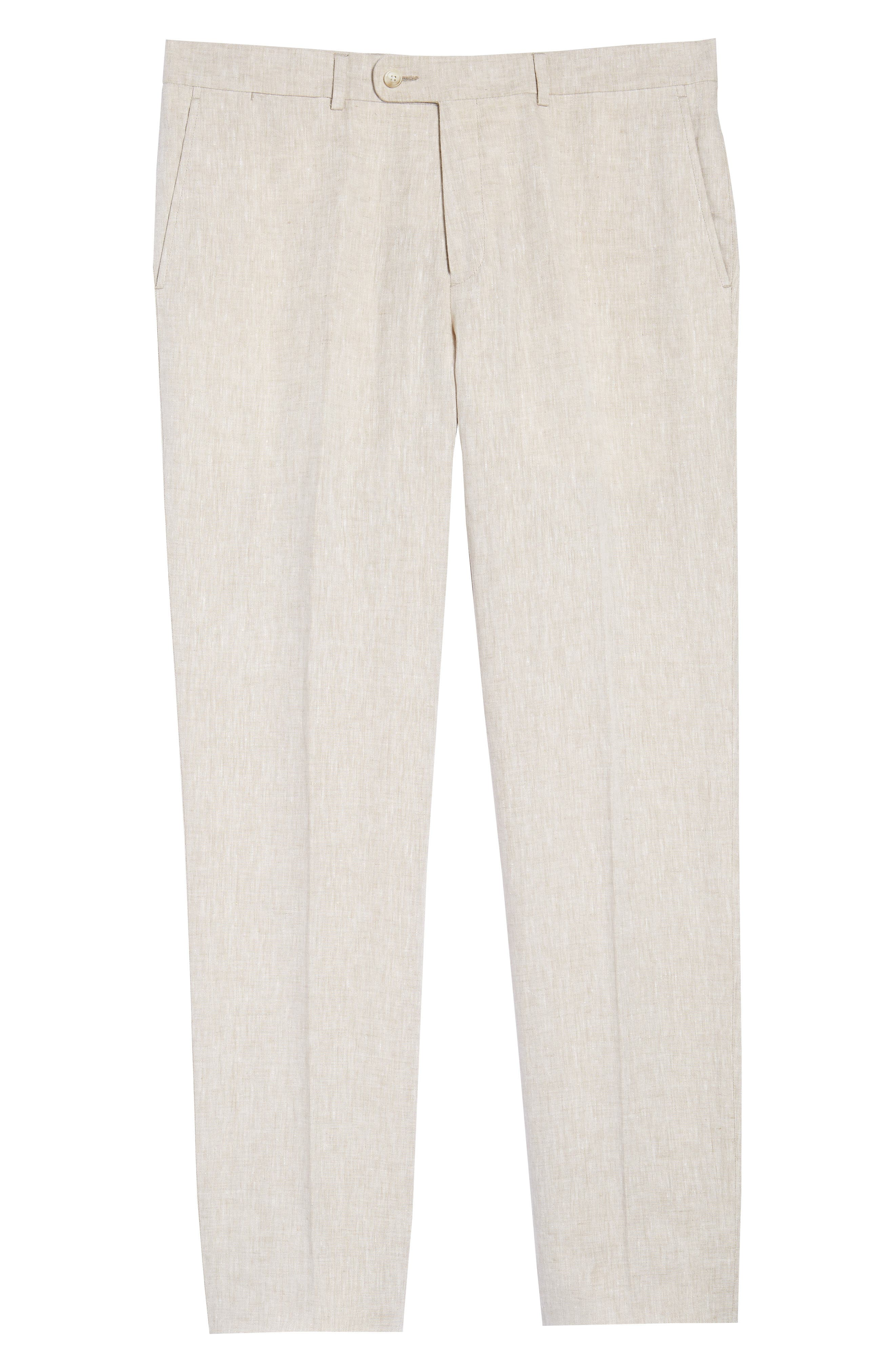 Andrew AIM Flat Front Linen Trousers,                             Alternate thumbnail 6, color,                             105