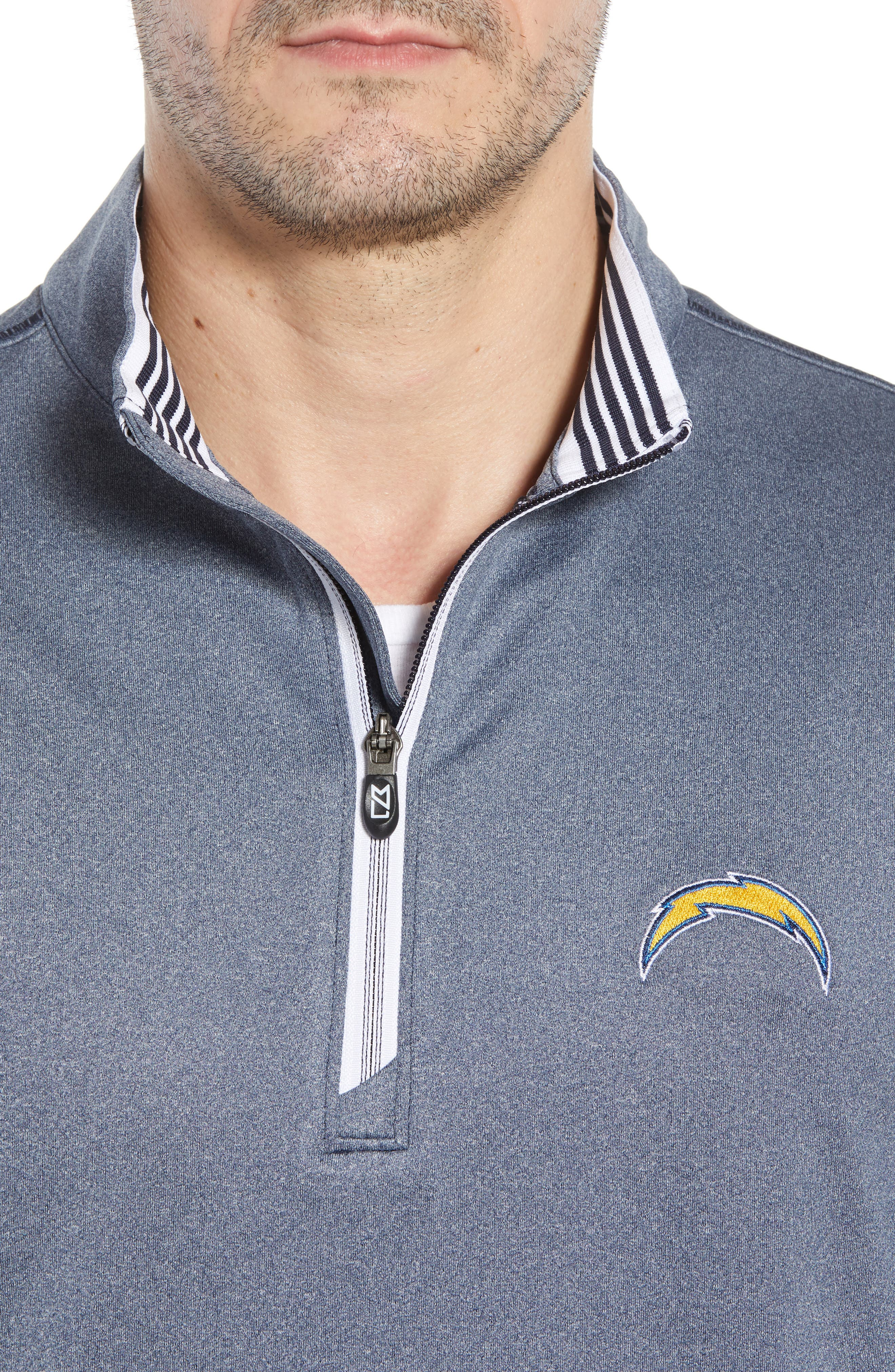 Endurance Los Angeles Chargers Regular Fit Pullover,                             Alternate thumbnail 4, color,                             LIBERTY NAVY HEATHER
