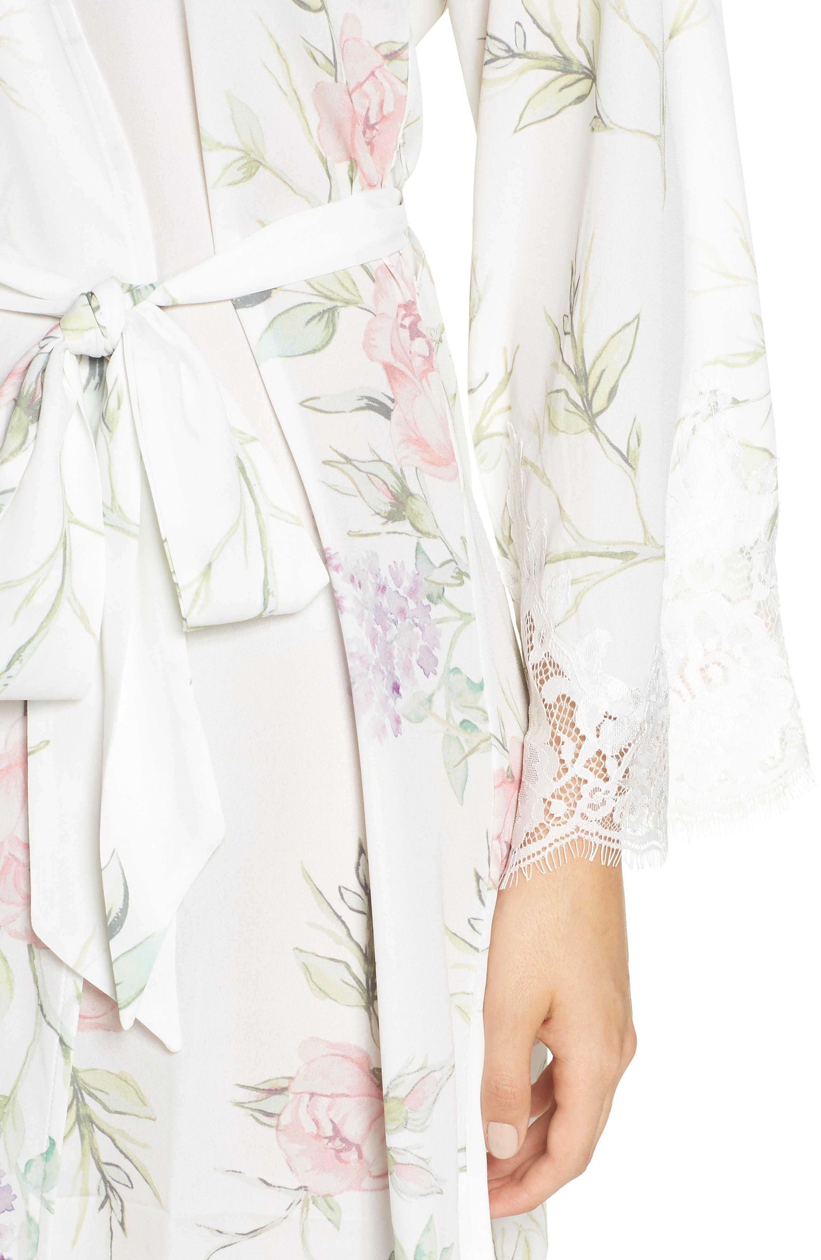 Sofia Kimono Robe,                             Alternate thumbnail 4, color,                             PURPLE FLORAL