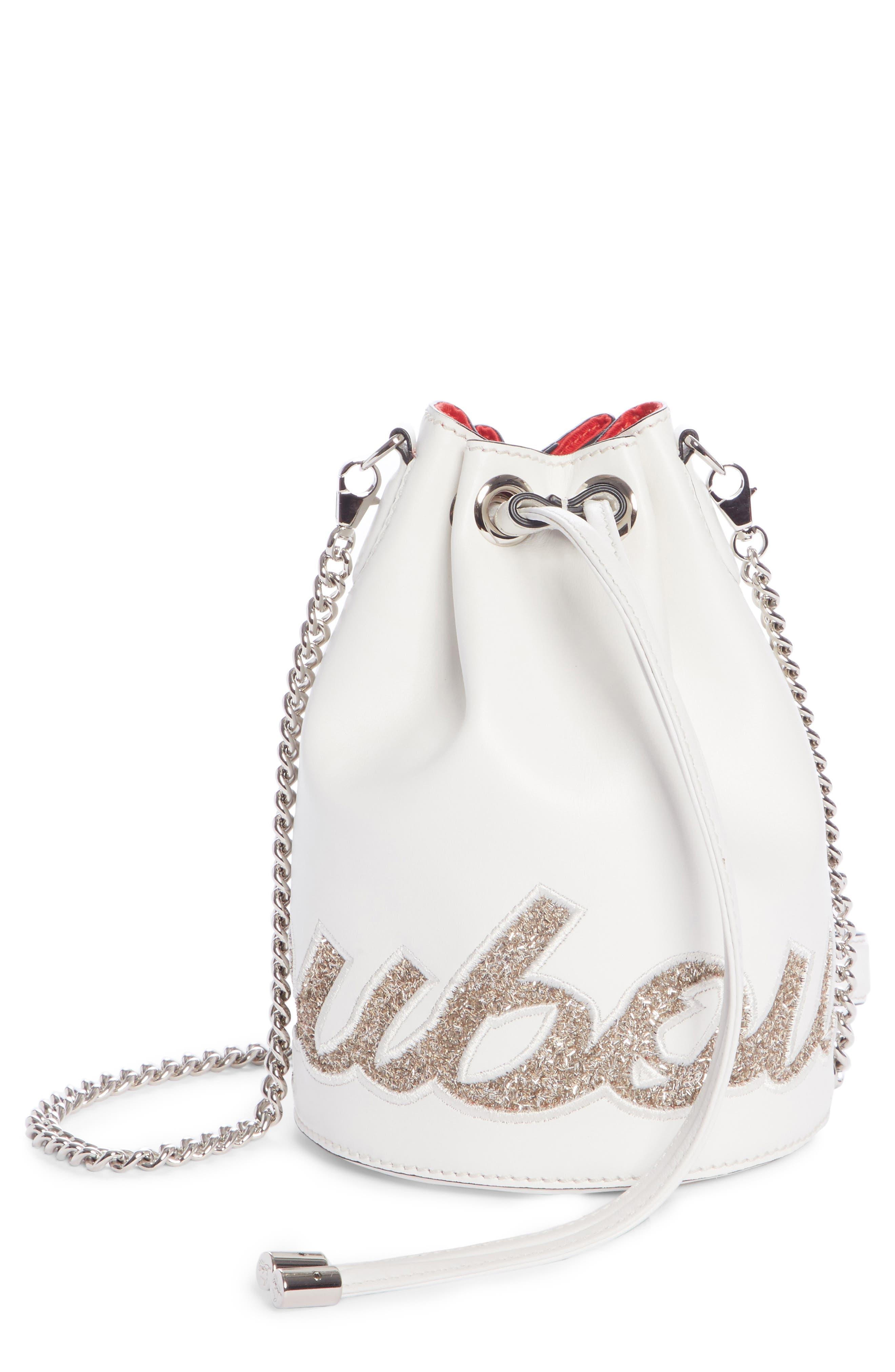 Marie Jane Calfskin Bucket Bag,                         Main,                         color, SNOW/ PERLE
