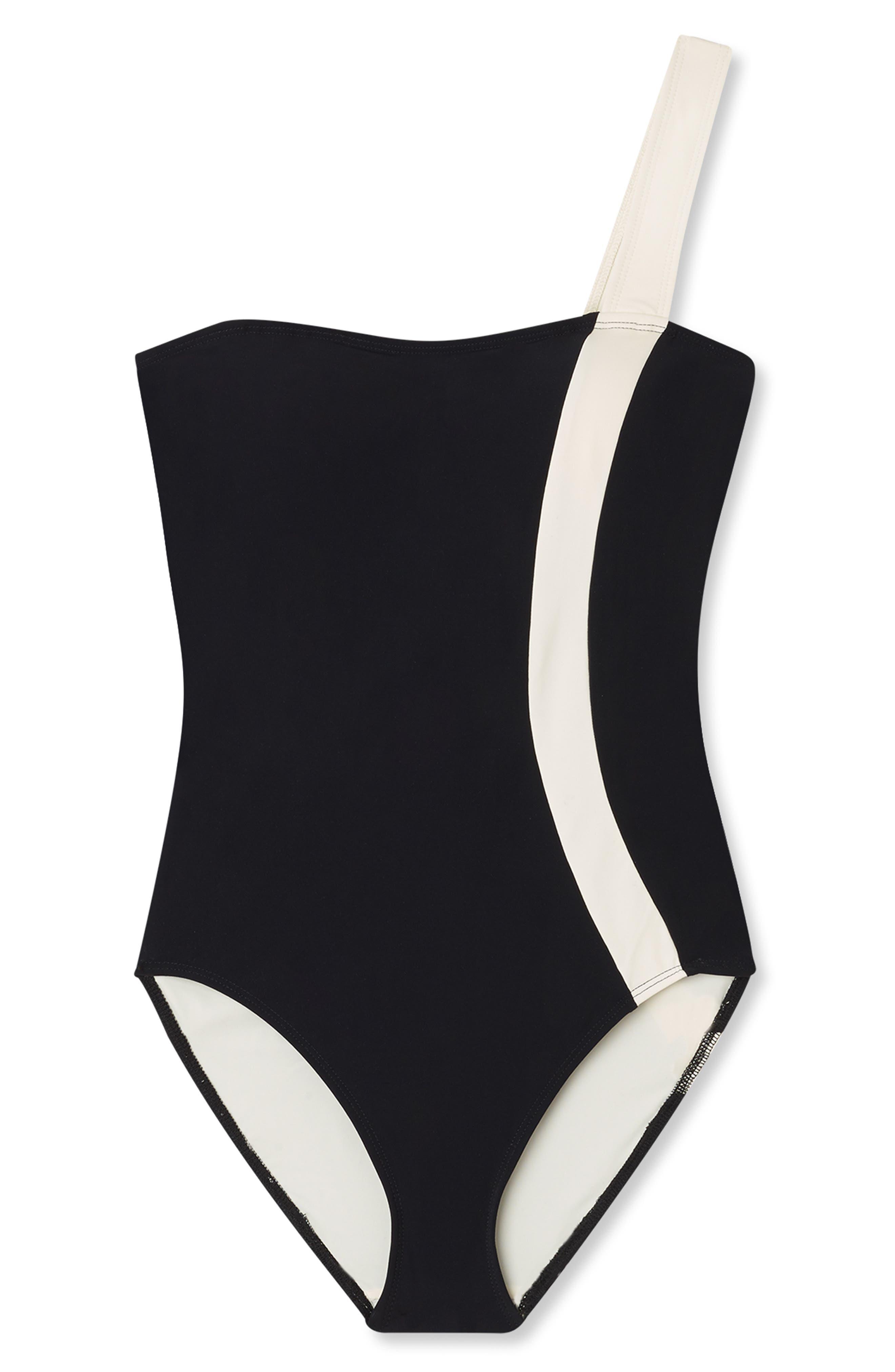 FLAGPOLE Calu One-Piece Swimsuit in Black/ Lychee