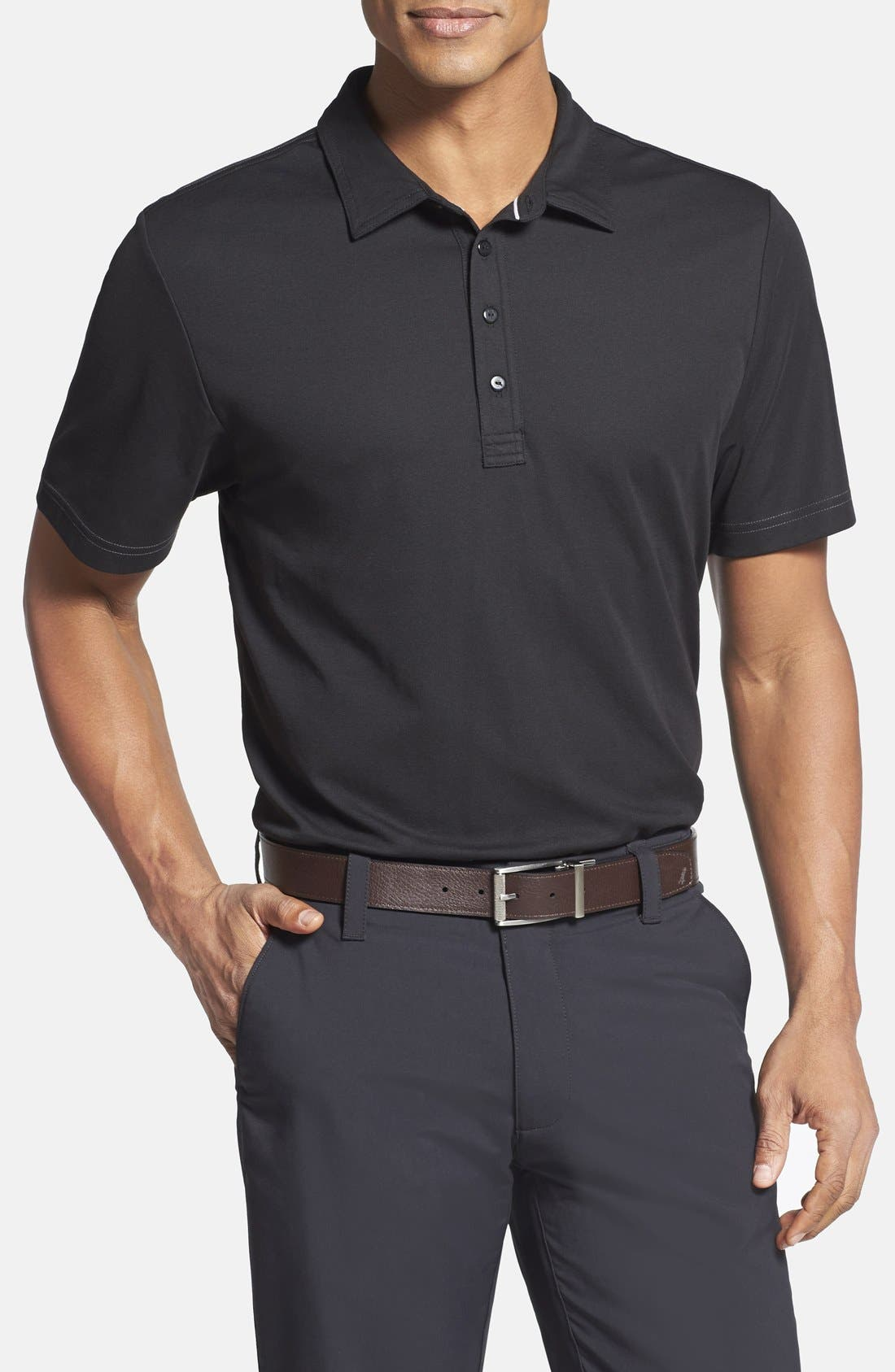 TRAVIS MATHEW,                             'Crenshaw' Trim Fit Golf Polo,                             Main thumbnail 1, color,                             001