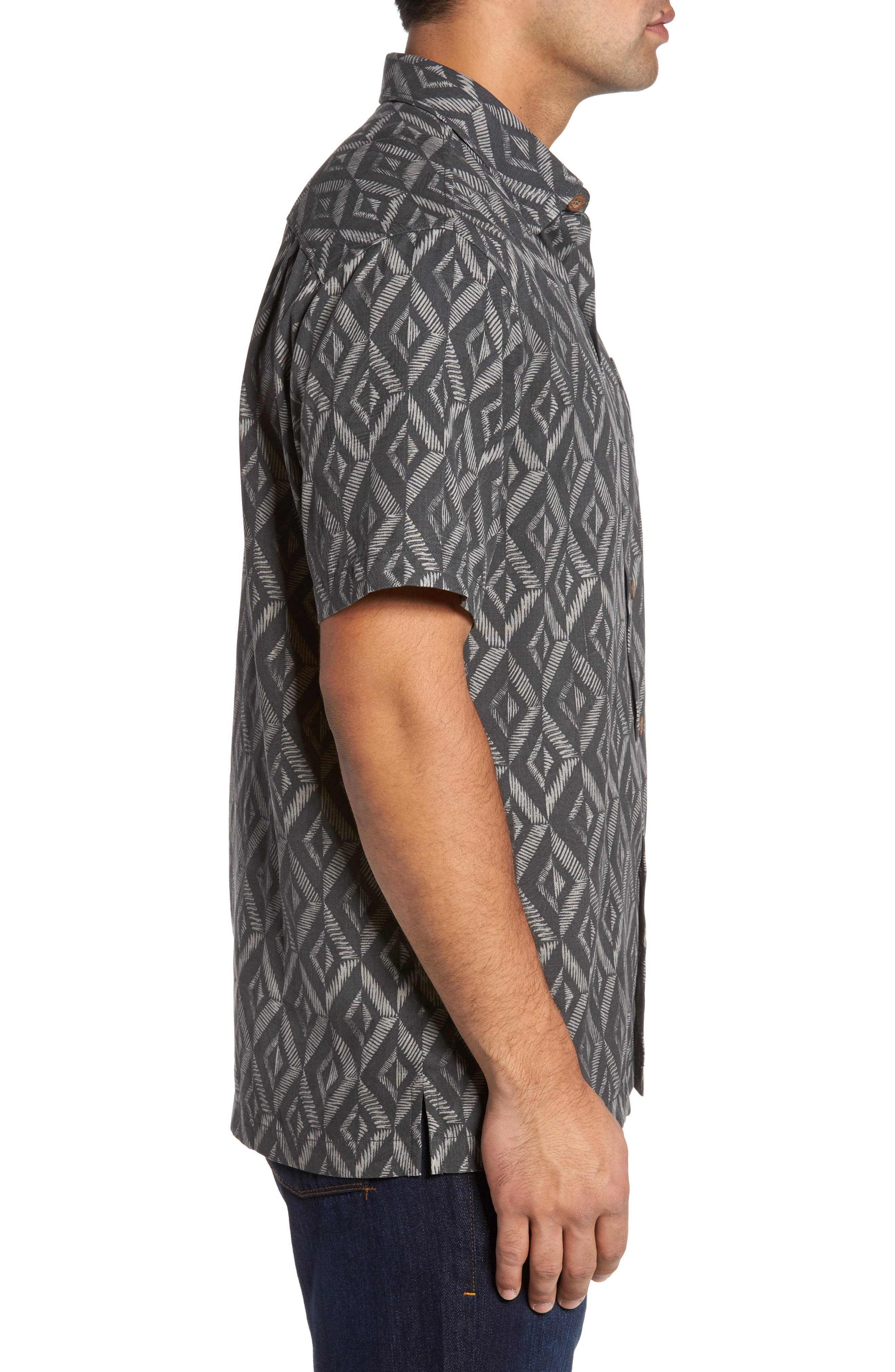 Diamond Tiles Standard Fit Silk Blend Camp Shirt,                             Alternate thumbnail 3, color,