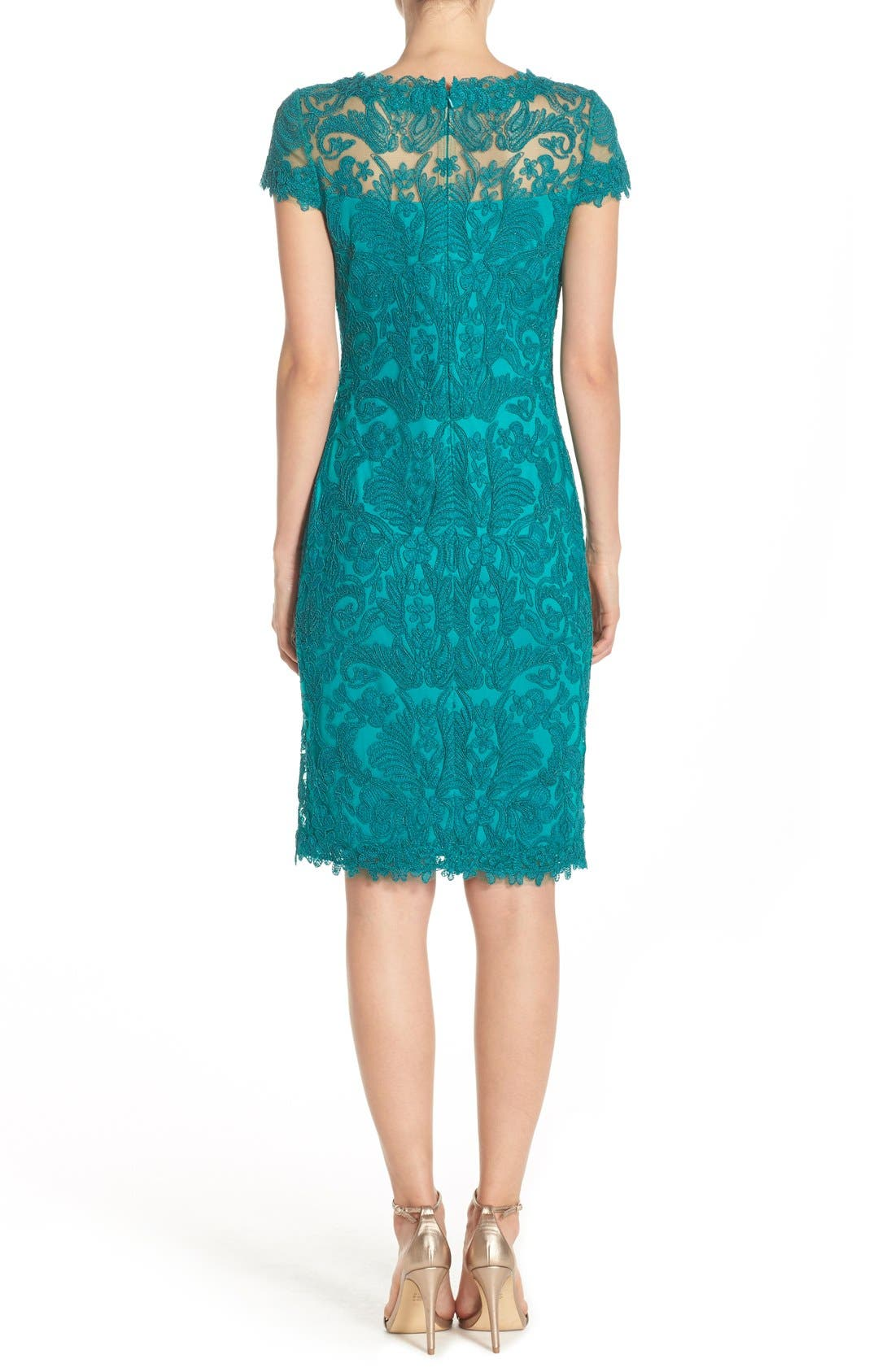 Illusion Yoke Lace Sheath Dress,                             Alternate thumbnail 35, color,