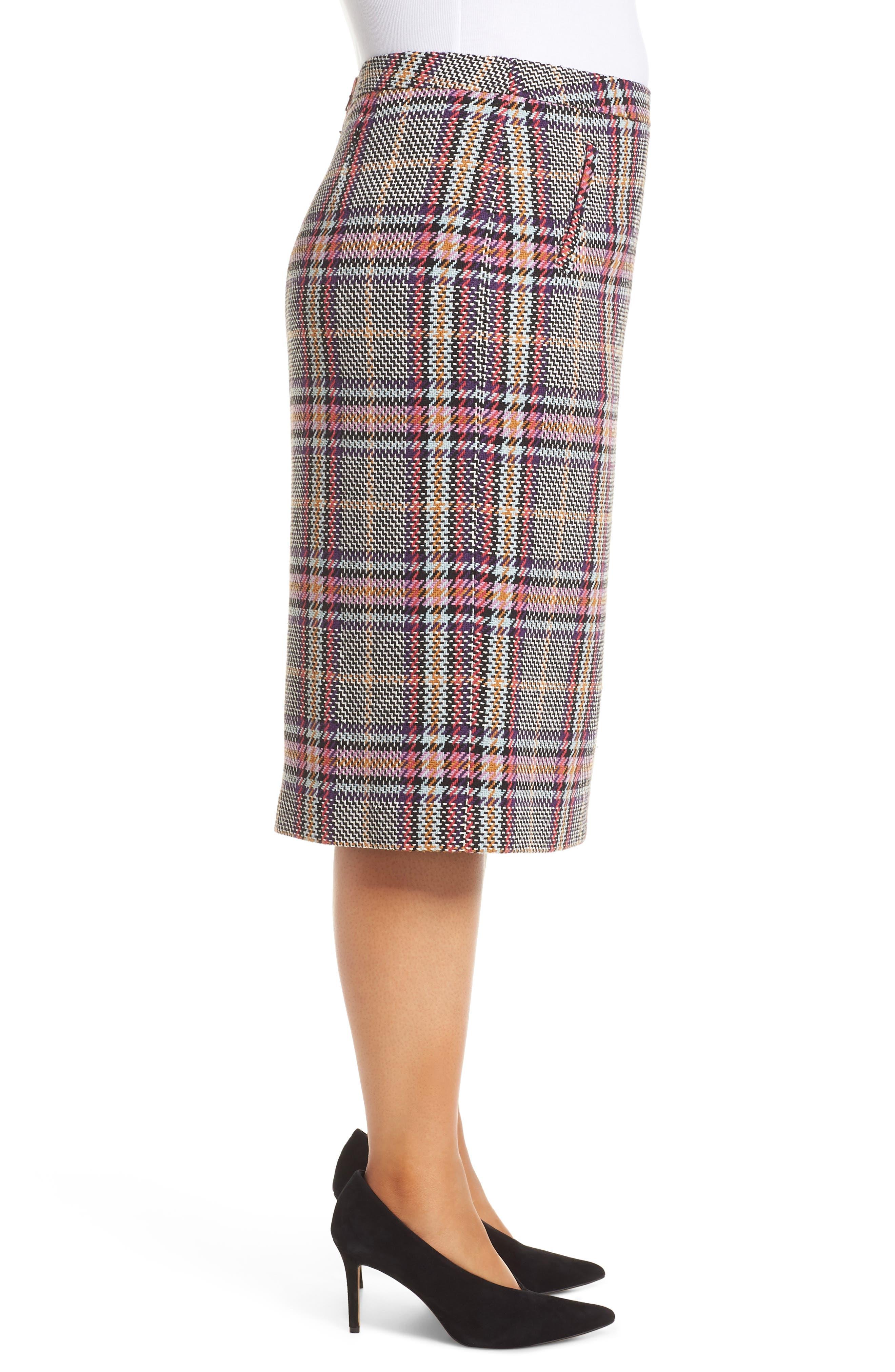 Plaid Pencil Skirt,                             Alternate thumbnail 3, color,                             530