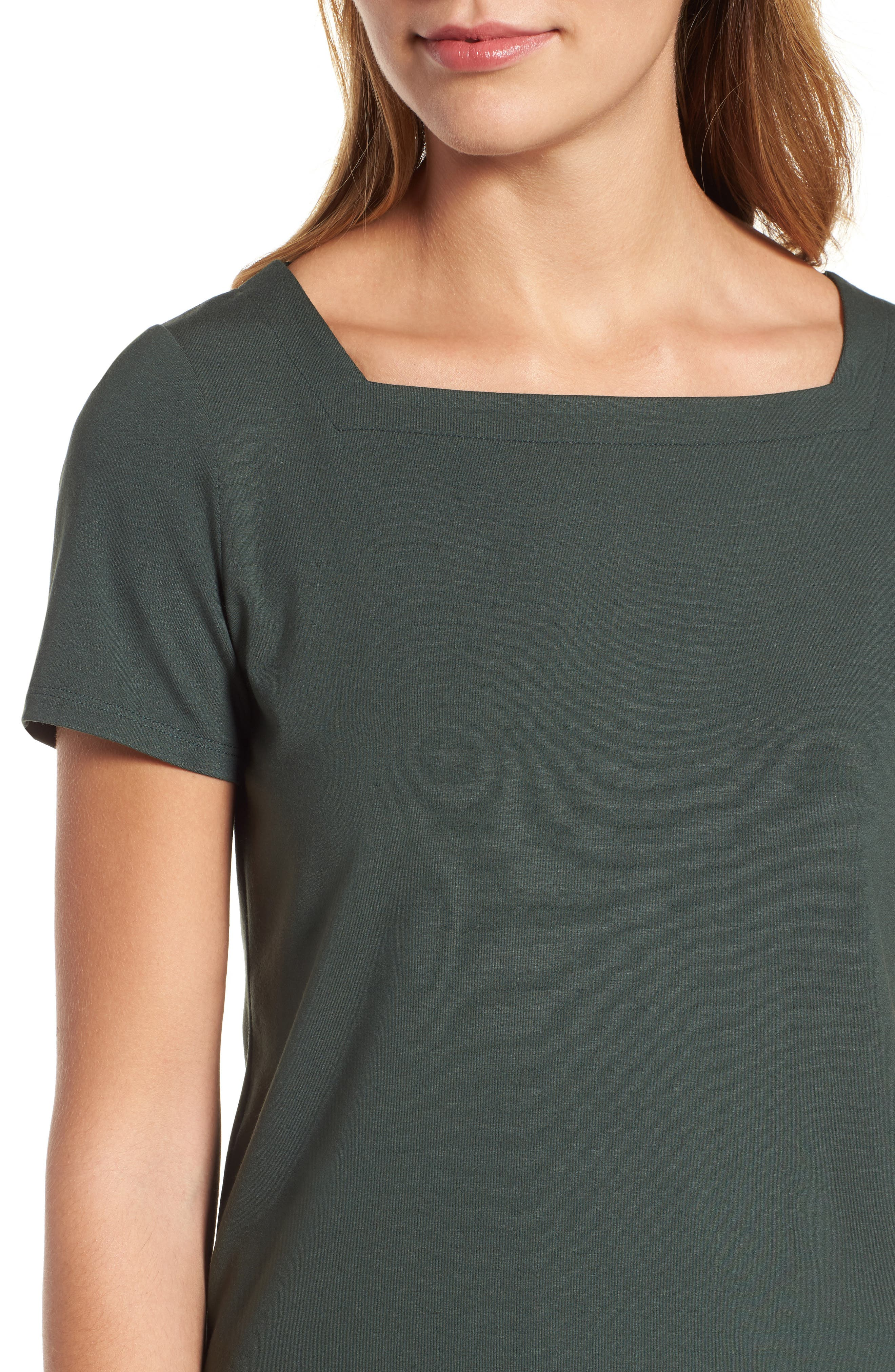 EILEEN FISHER,                             Square Neck Jersey Top,                             Alternate thumbnail 4, color,                             351