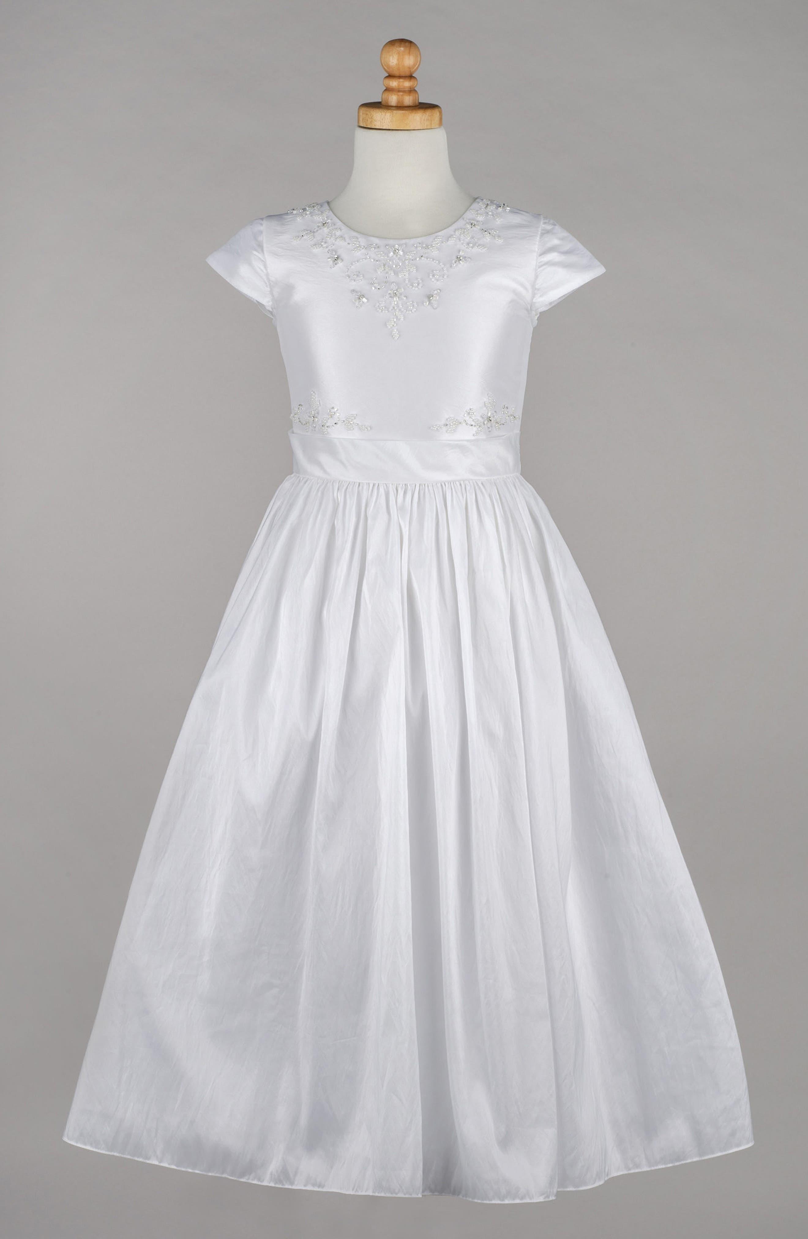 Beaded Taffeta First Communion Dress,                             Alternate thumbnail 4, color,                             100
