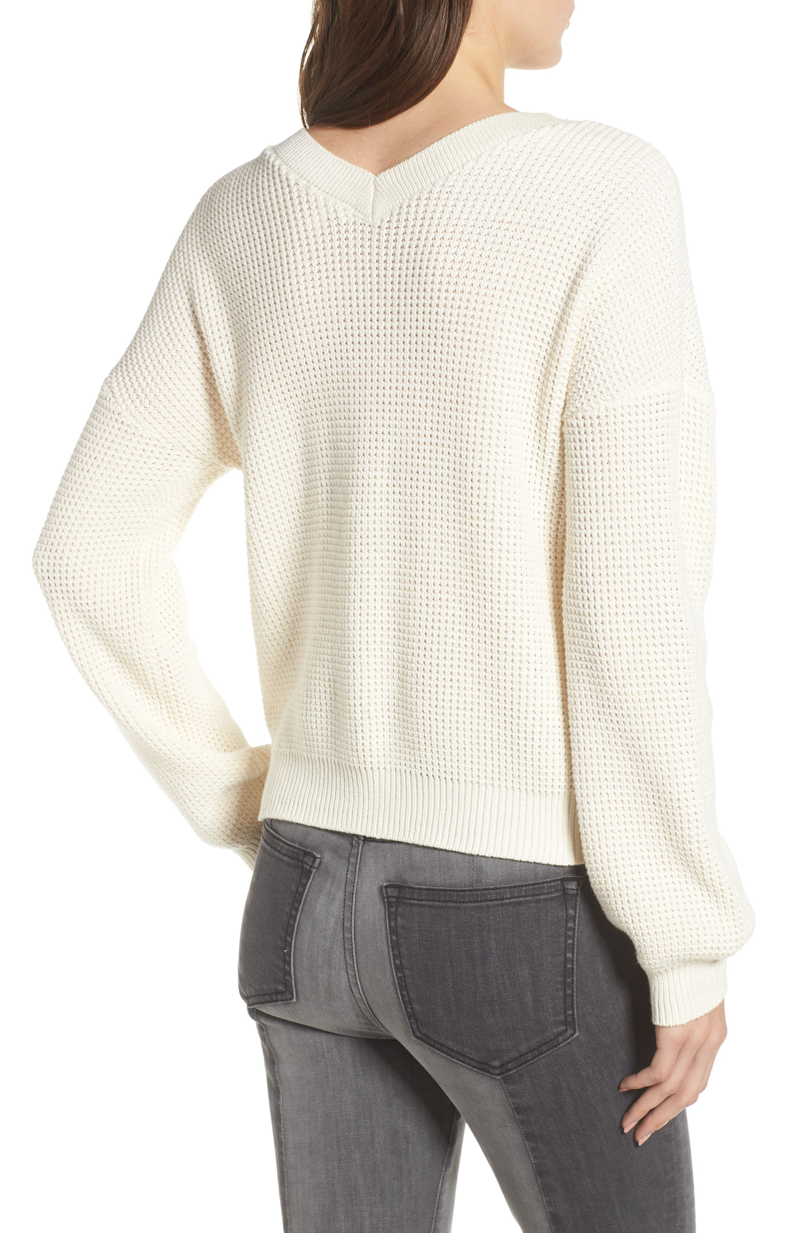 Twist Front Sweater,                             Alternate thumbnail 3, color,                             IVORY