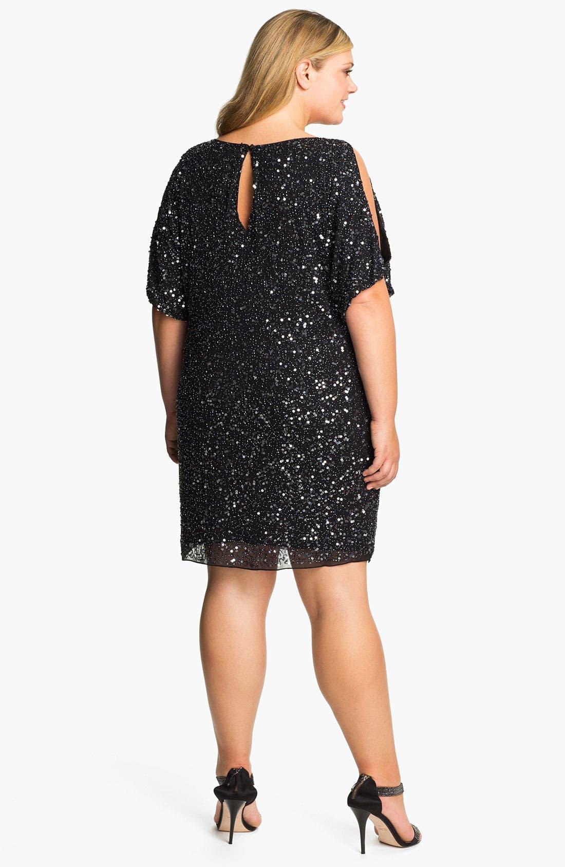AIDAN MATTOX,                             Sequin Cold Shoulder Dress,                             Main thumbnail 1, color,                             001