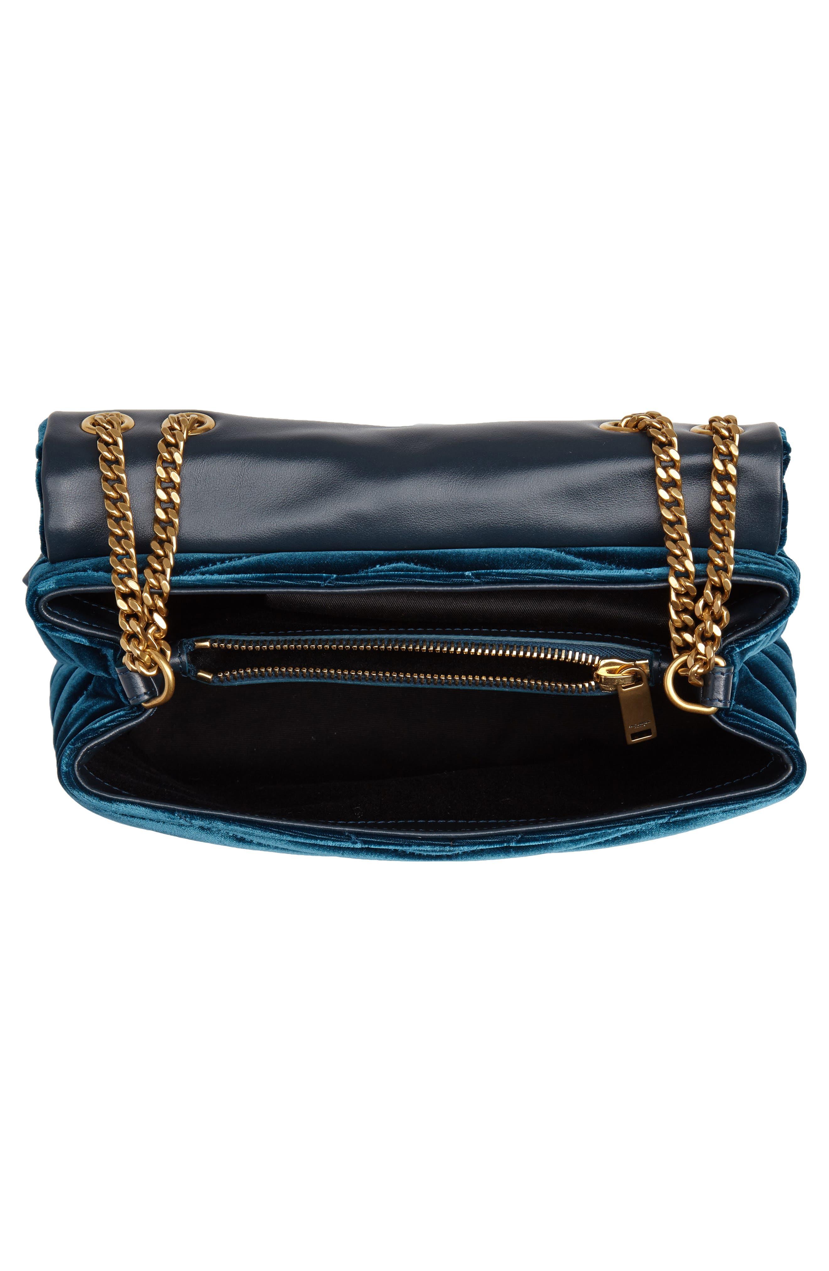 SAINT LAURENT,                             Small Loulou Matelassé Velour Shoulder Bag,                             Alternate thumbnail 4, color,                             DARK DEEP SEA/ DARK DEEP SEA
