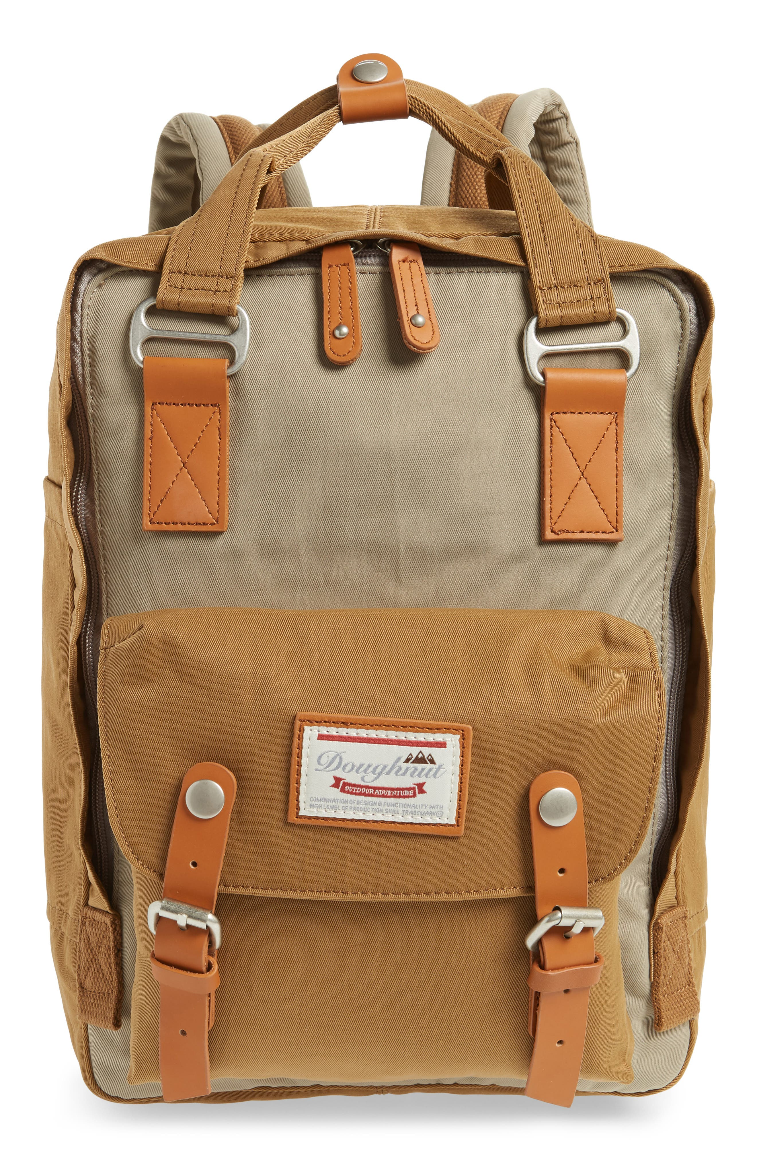 Macaroon Colorblock Backpack,                             Main thumbnail 1, color,                             BEIGE/ KHAKI