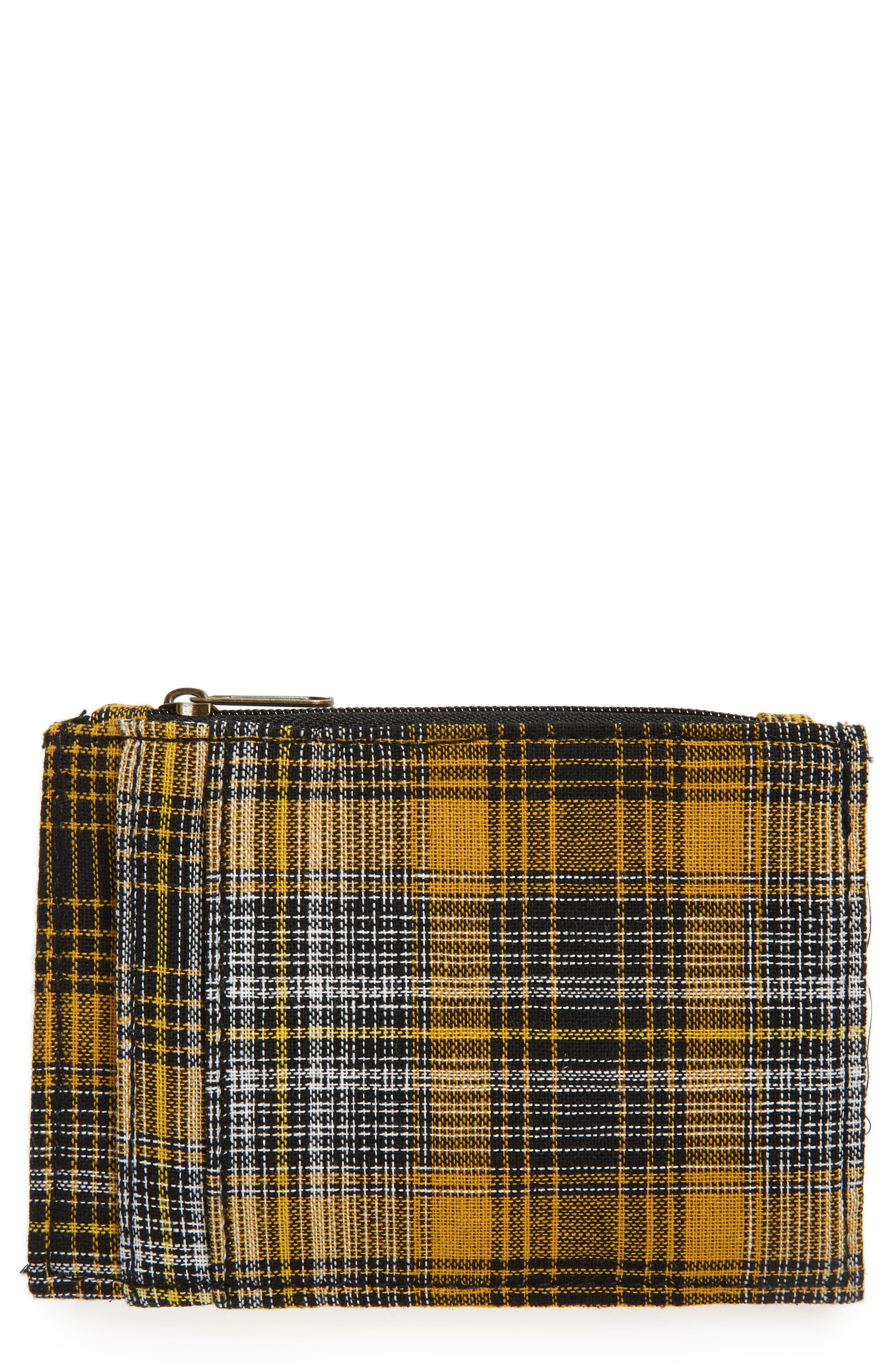 Plaid Zip Top Card Case,                             Main thumbnail 1, color,                             YELLOW/ RED/ BLACK MULTI