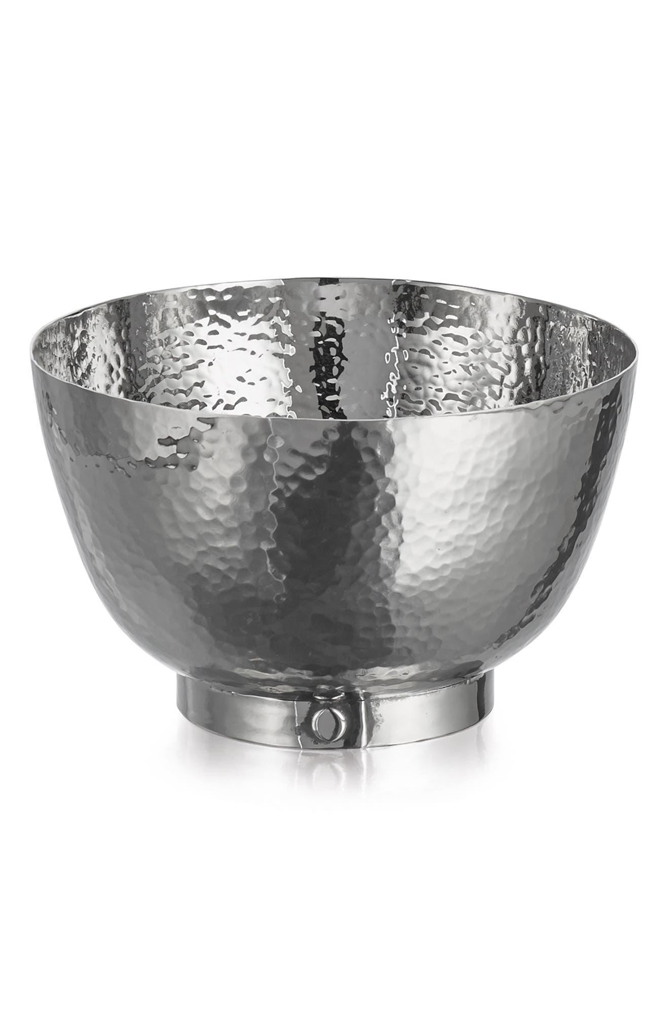 'Rivet' Hammered Stainless Steel Bowl,                             Alternate thumbnail 3, color,                             040