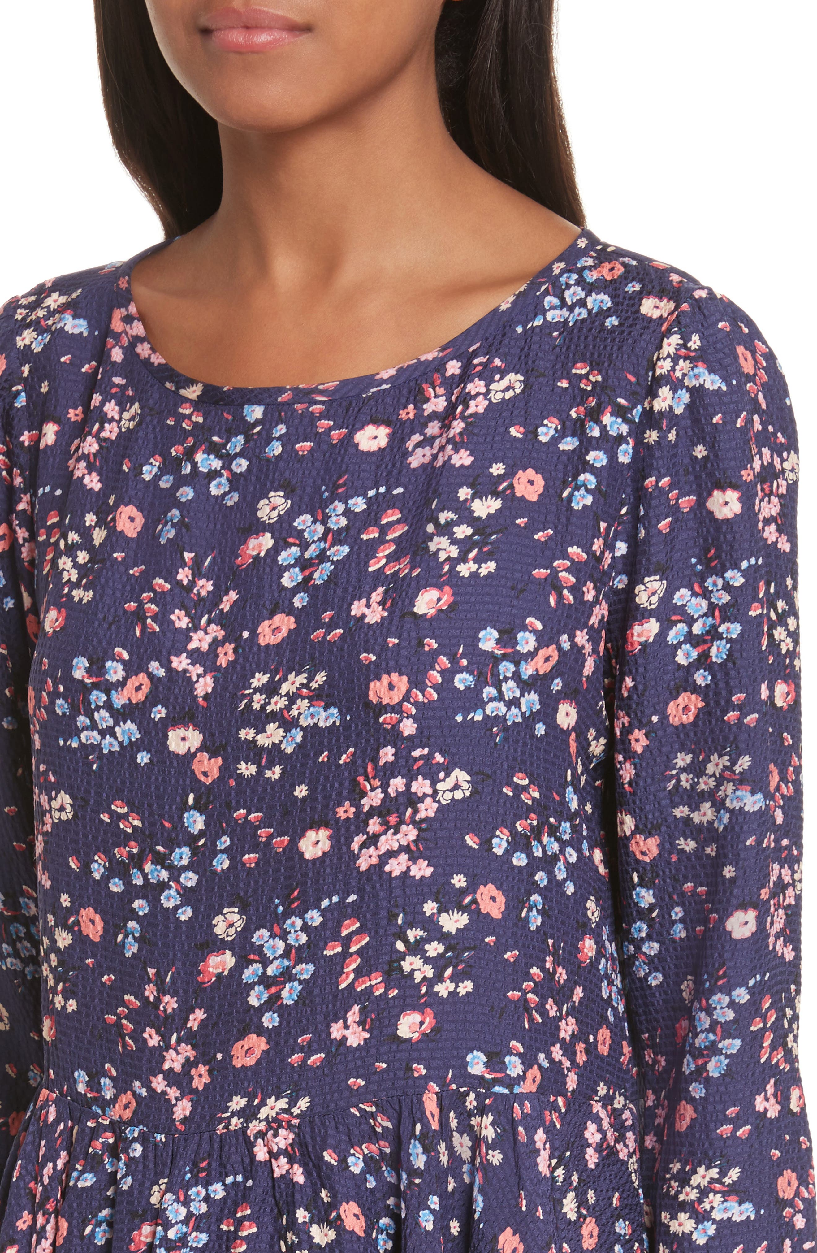 Woodland Floral Print Silk Top,                             Alternate thumbnail 4, color,                             565