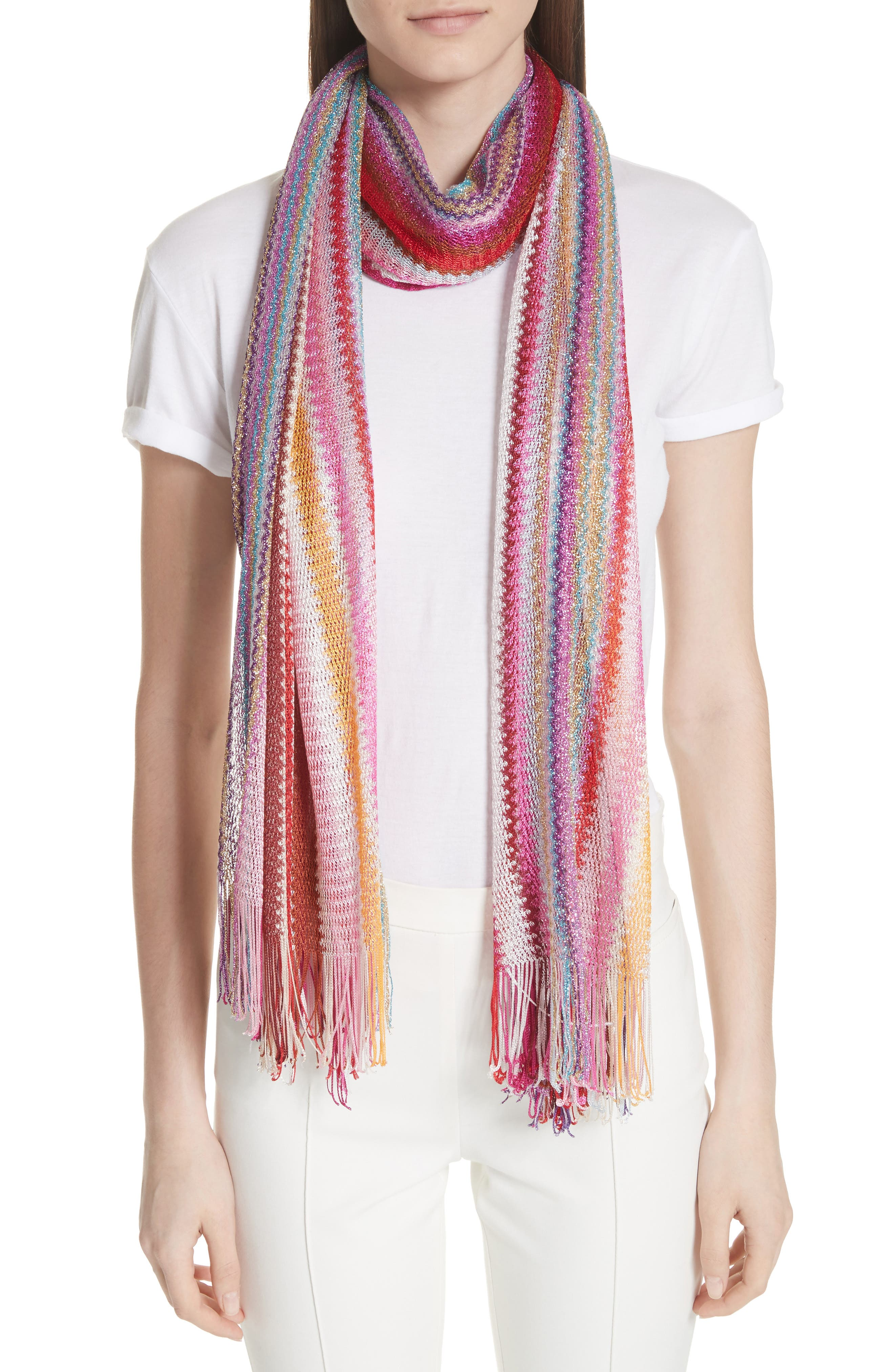 Zigzag Stripe Stole,                             Alternate thumbnail 2, color,                             MULTI PINK