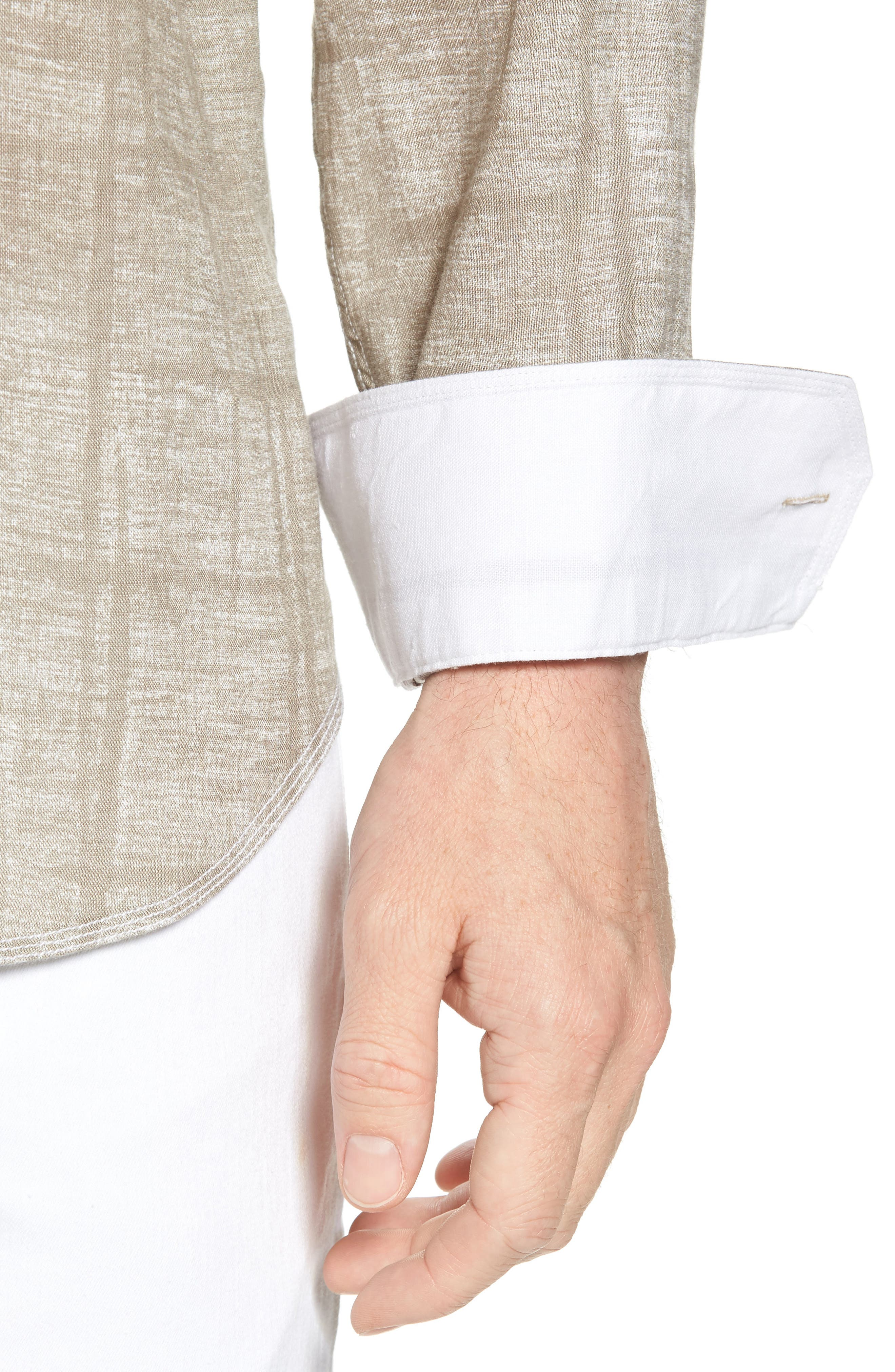Shaped Fit Linen Sport Shirt,                             Alternate thumbnail 4, color,                             SAND