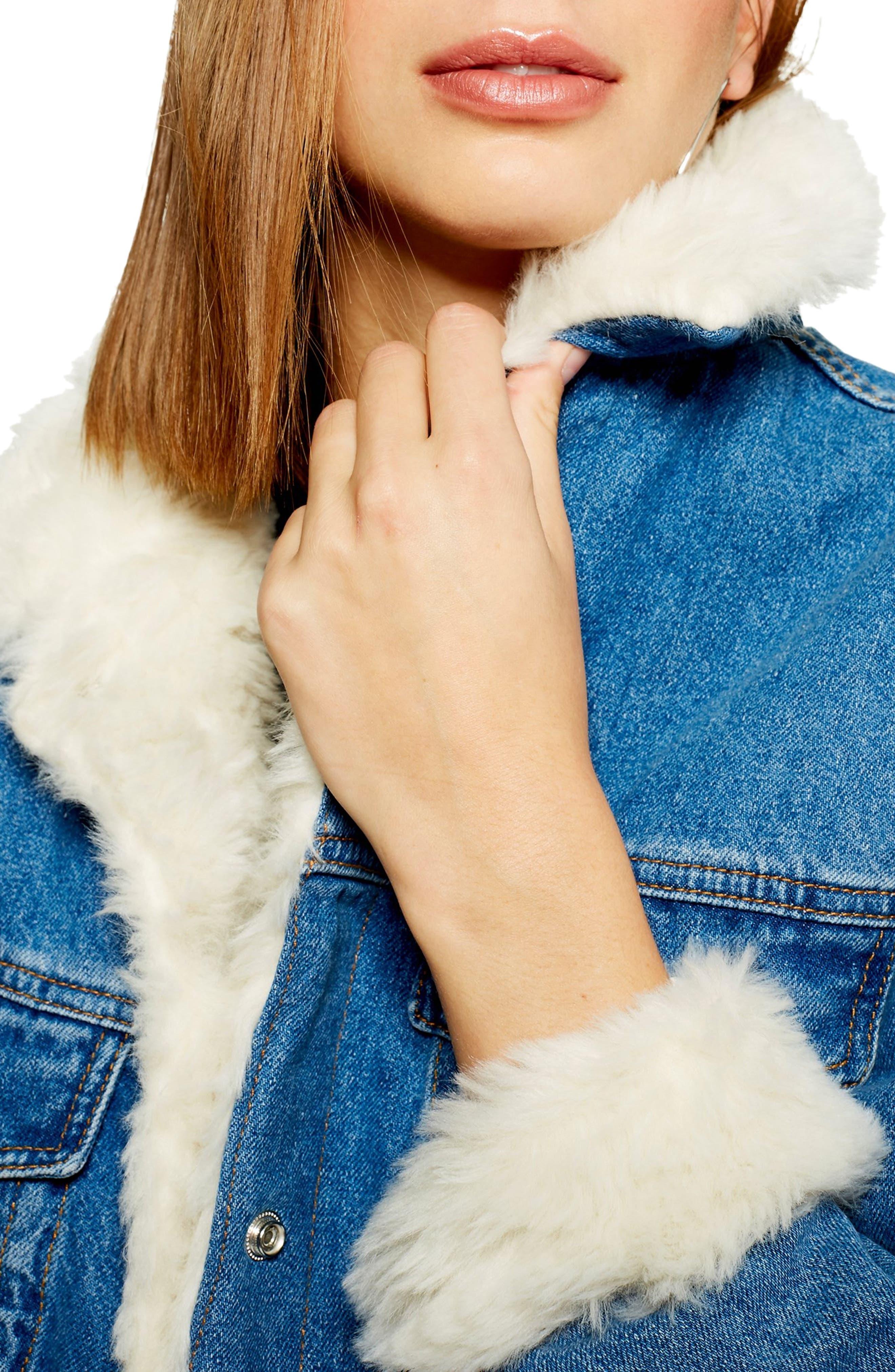 Faux Fur Denim Jacket,                             Alternate thumbnail 4, color,                             MID DENIM