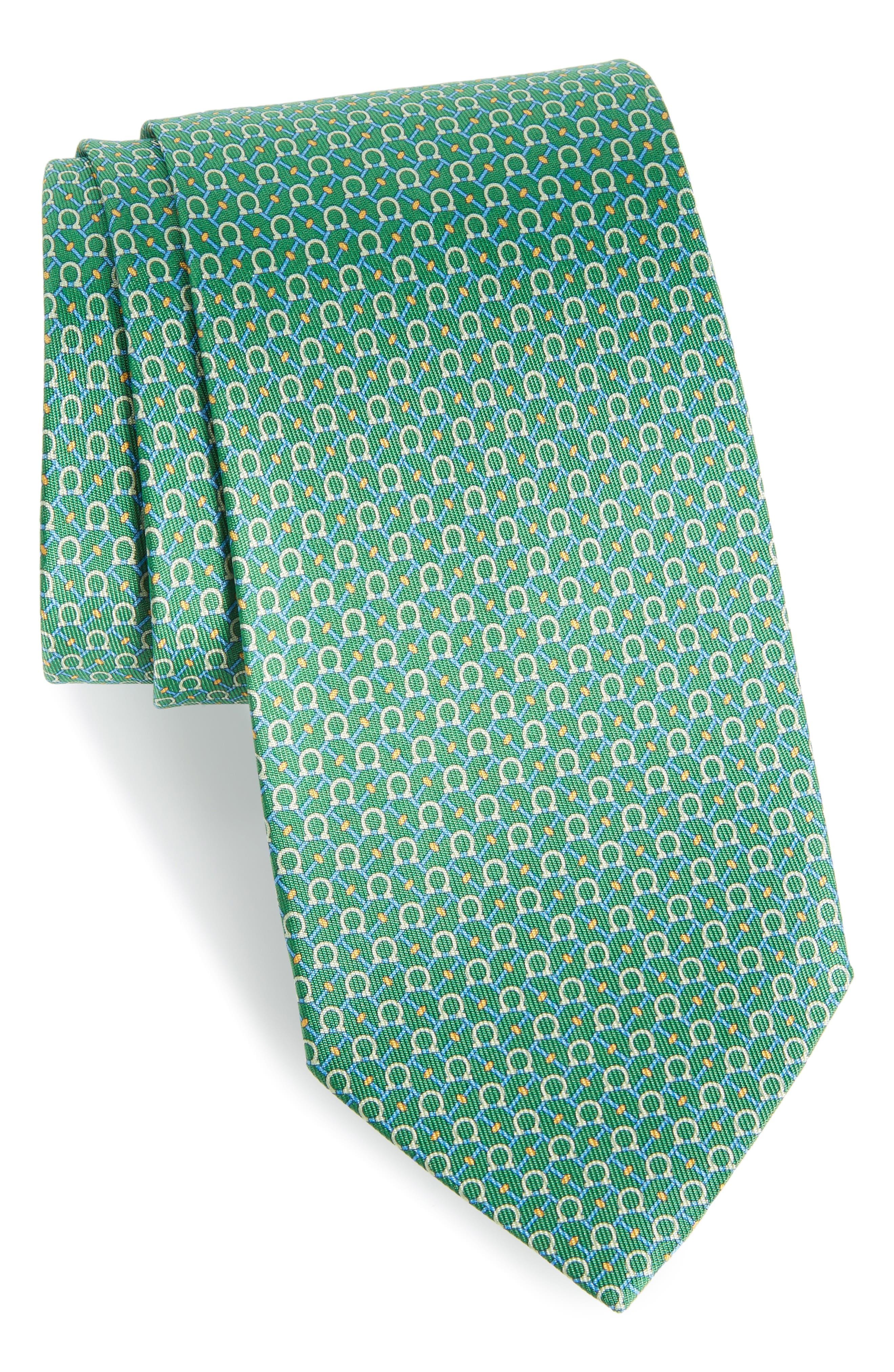 Eroe Geo Print Silk Tie,                         Main,                         color, GREEN