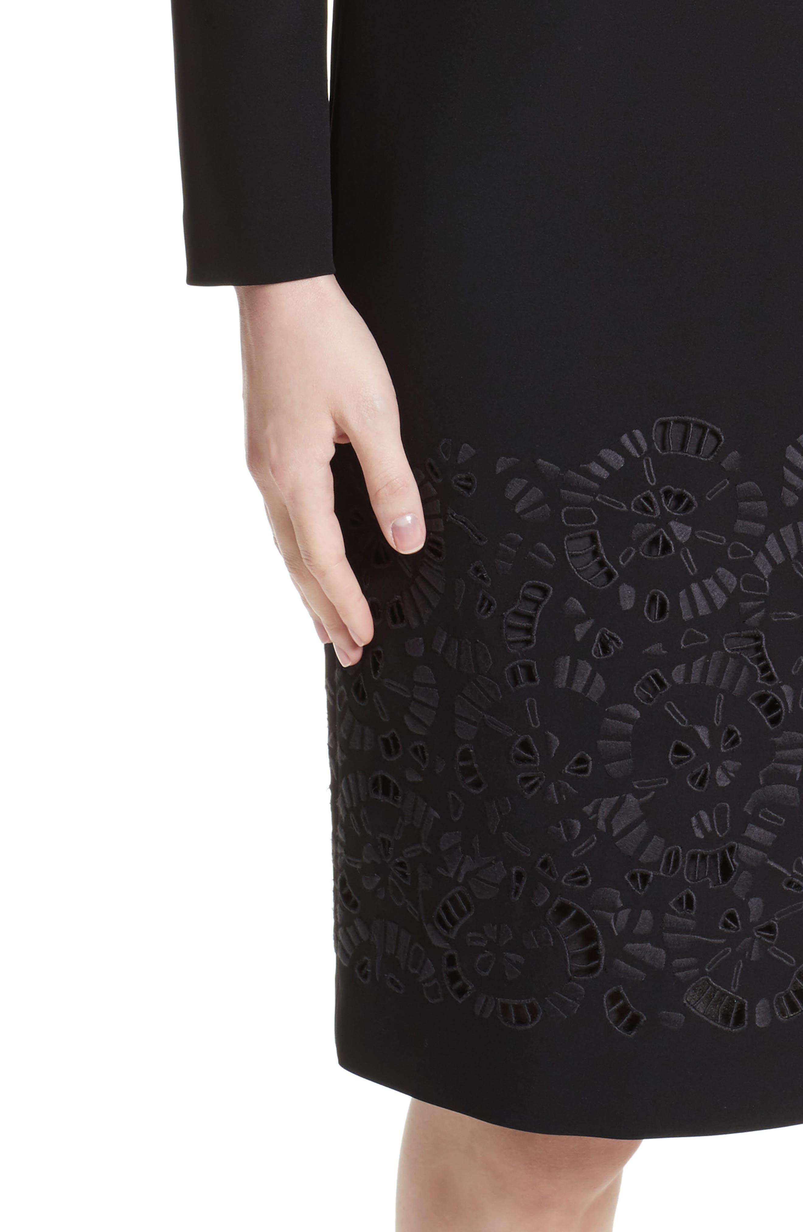 Corbin Embroidered Laser Cut Dress,                             Alternate thumbnail 4, color,                             001