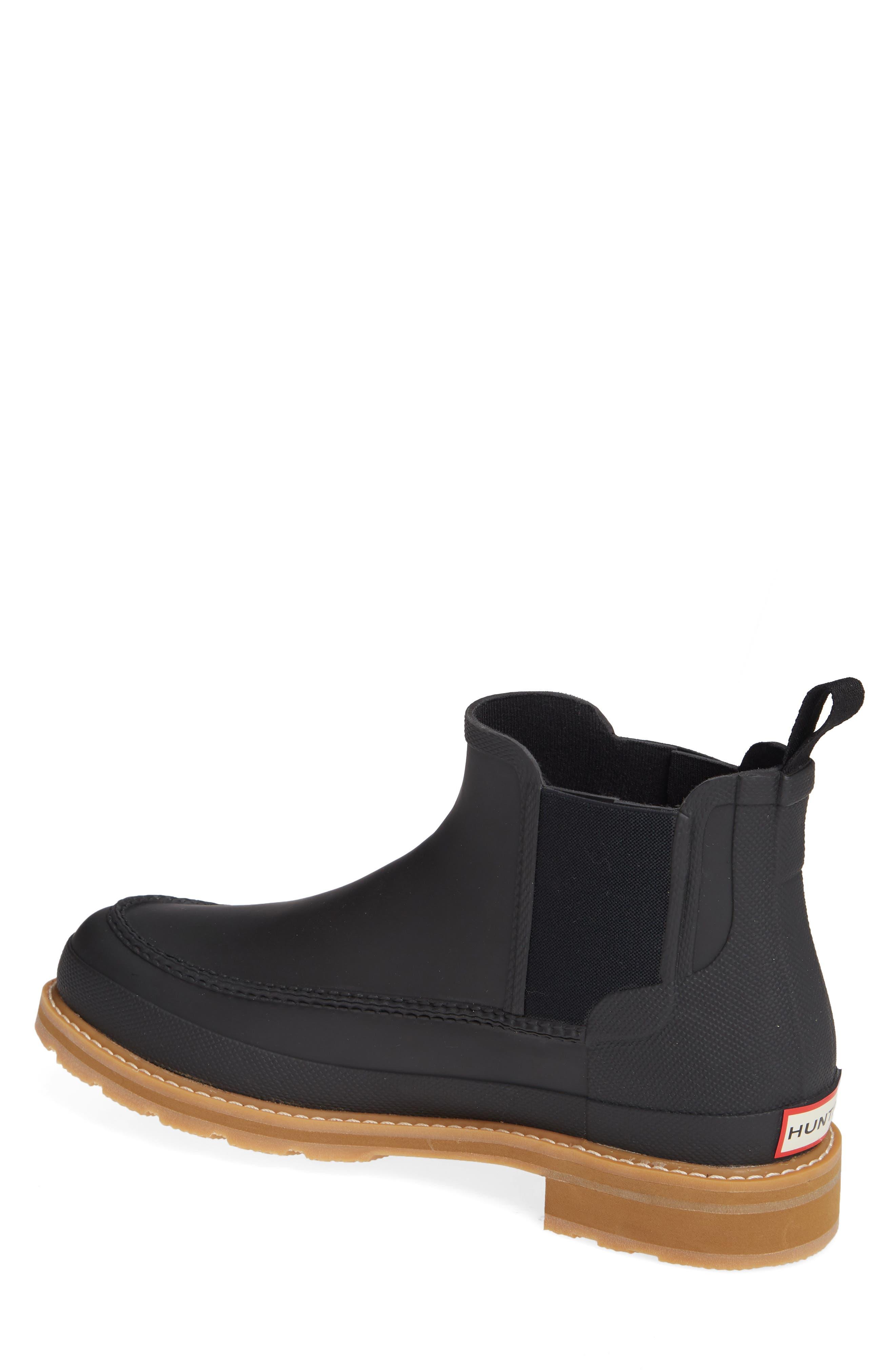HUNTER,                             Moc Toe Waterproof Chelsea Boot,                             Alternate thumbnail 2, color,                             BLACK
