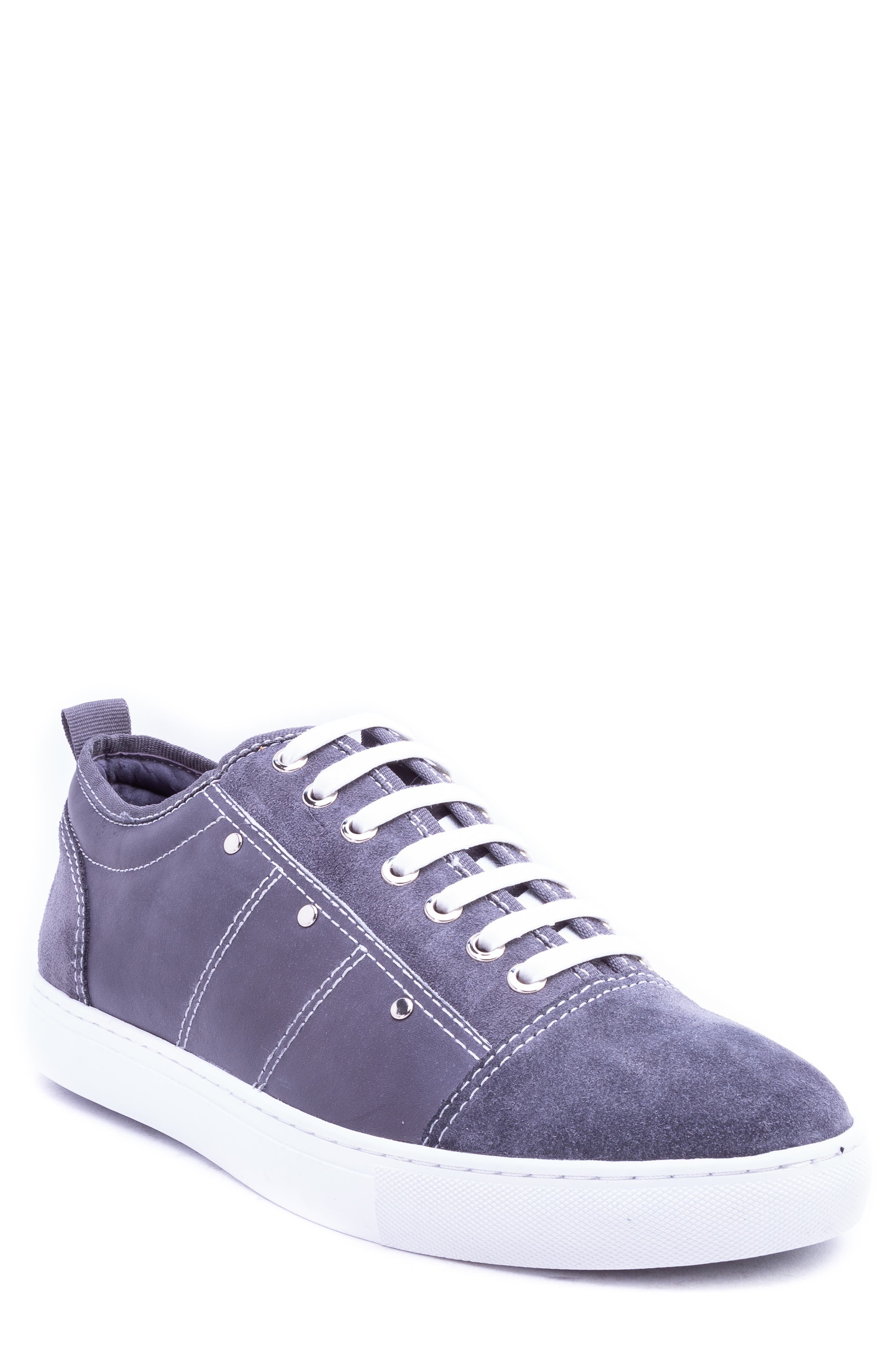 Severn Studded Low Top Sneaker,                         Main,                         color, GREY SUEDE/ LEATHER